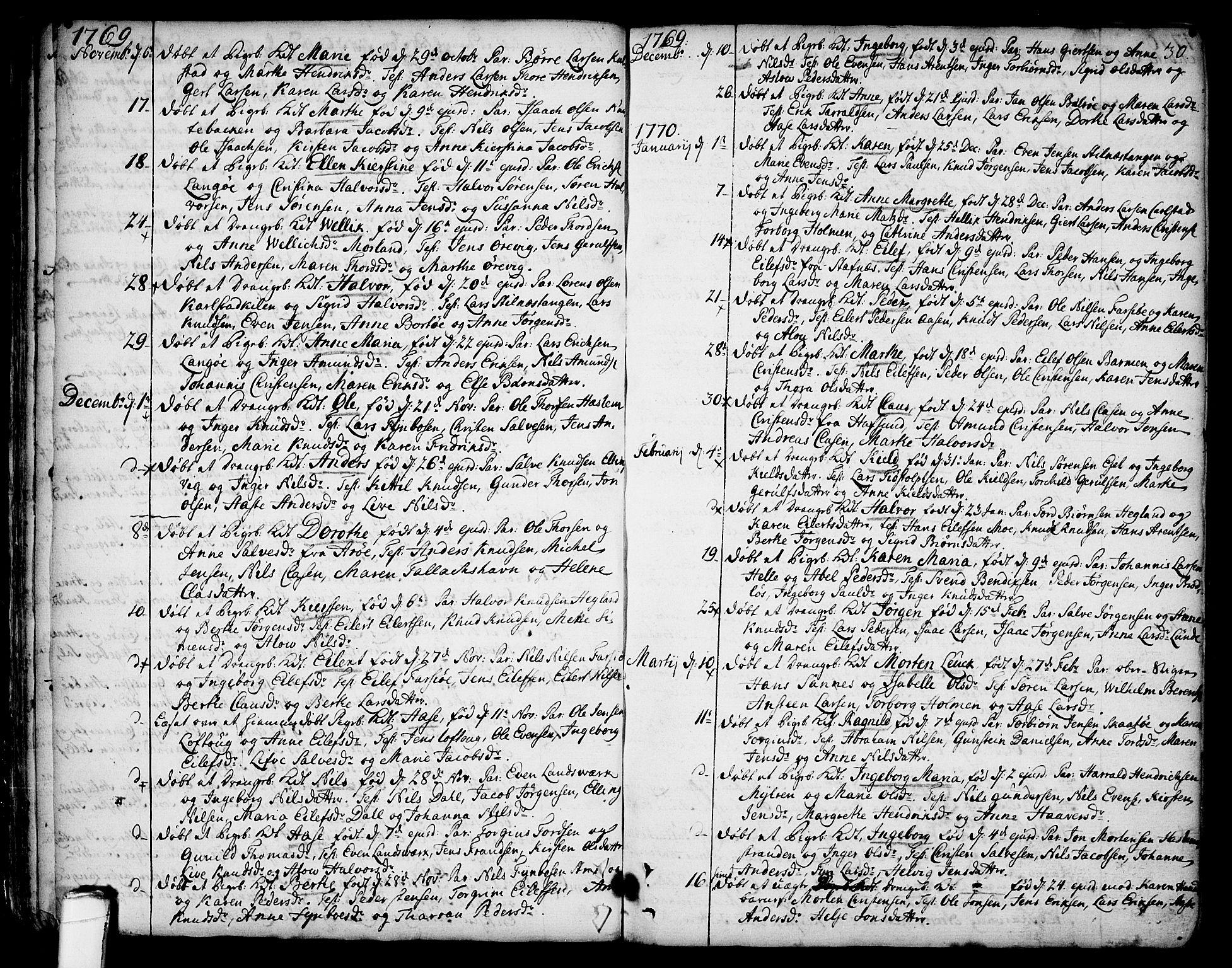 SAKO, Sannidal kirkebøker, F/Fa/L0002: Ministerialbok nr. 2, 1767-1802, s. 30