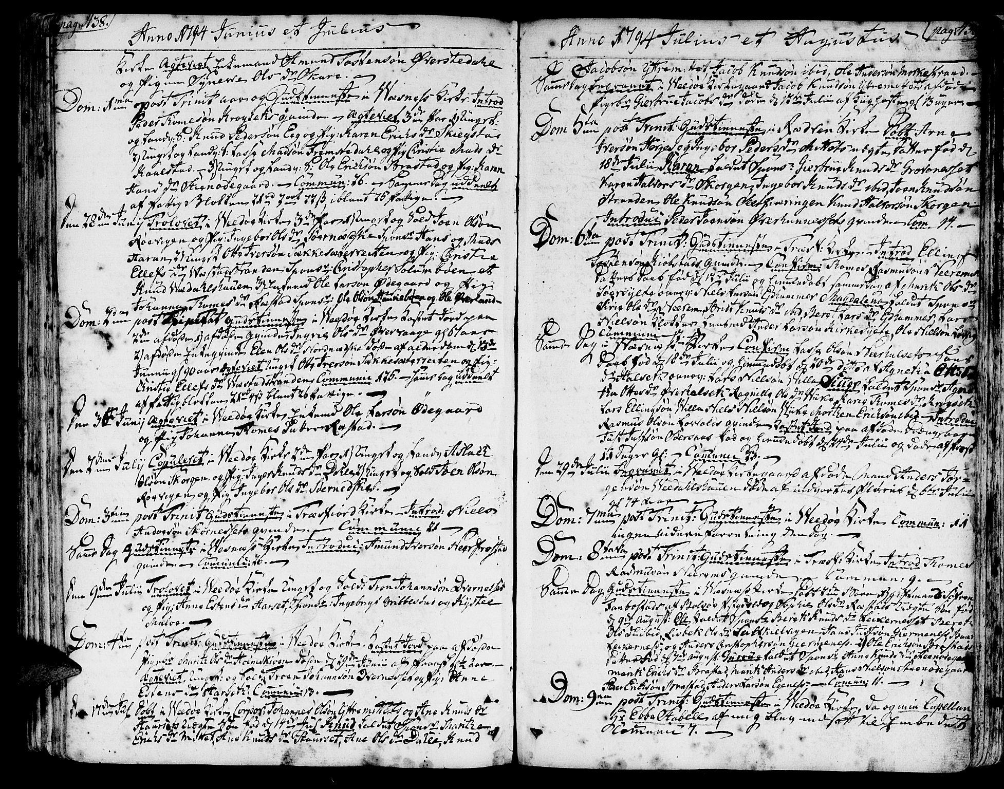 SAT, Ministerialprotokoller, klokkerbøker og fødselsregistre - Møre og Romsdal, 547/L0600: Ministerialbok nr. 547A02, 1765-1799, s. 438-439