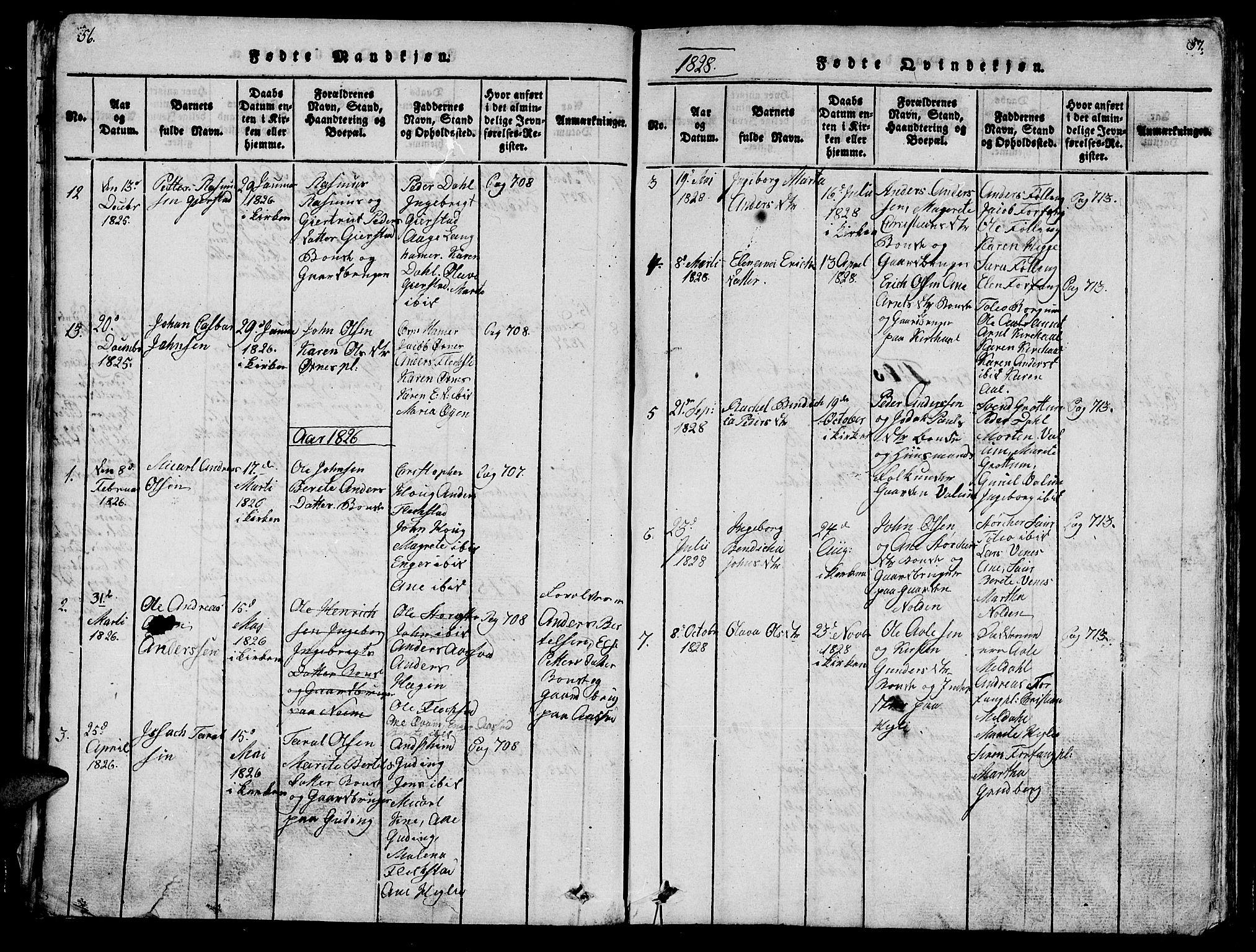 SAT, Ministerialprotokoller, klokkerbøker og fødselsregistre - Nord-Trøndelag, 747/L0459: Klokkerbok nr. 747C01, 1816-1842, s. 56-57