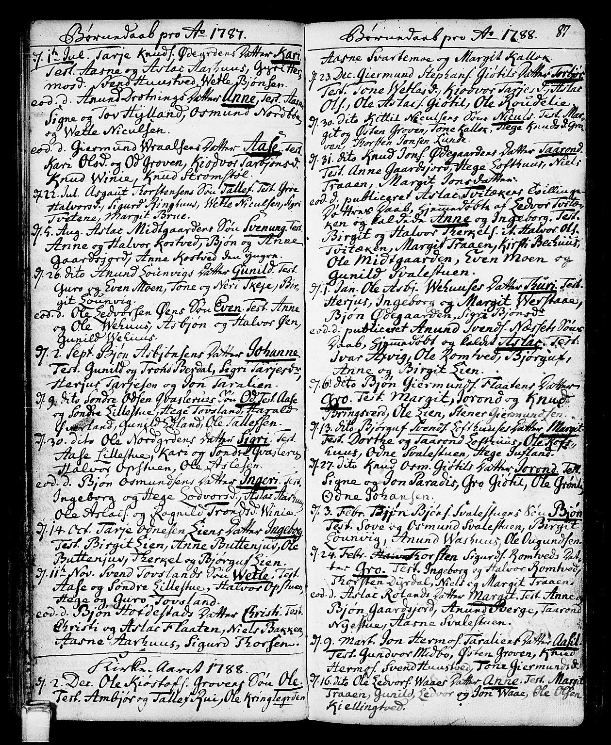 SAKO, Vinje kirkebøker, F/Fa/L0002: Ministerialbok nr. I 2, 1767-1814, s. 87