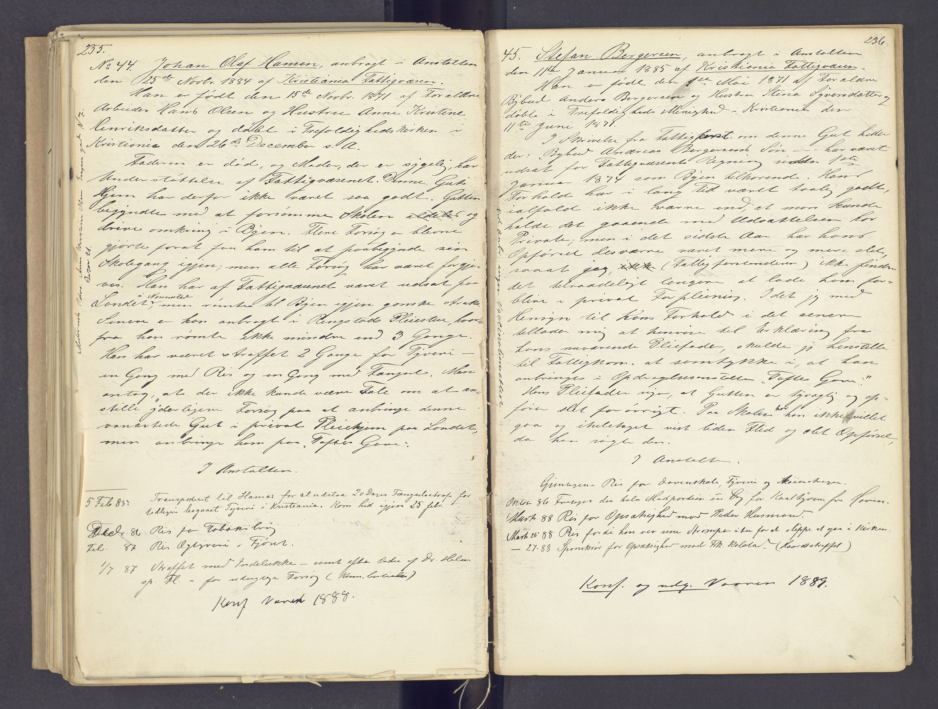 SAH, Toftes Gave, F/Fc/L0002: Elevprotokoll, 1870-1885, s. 235-236