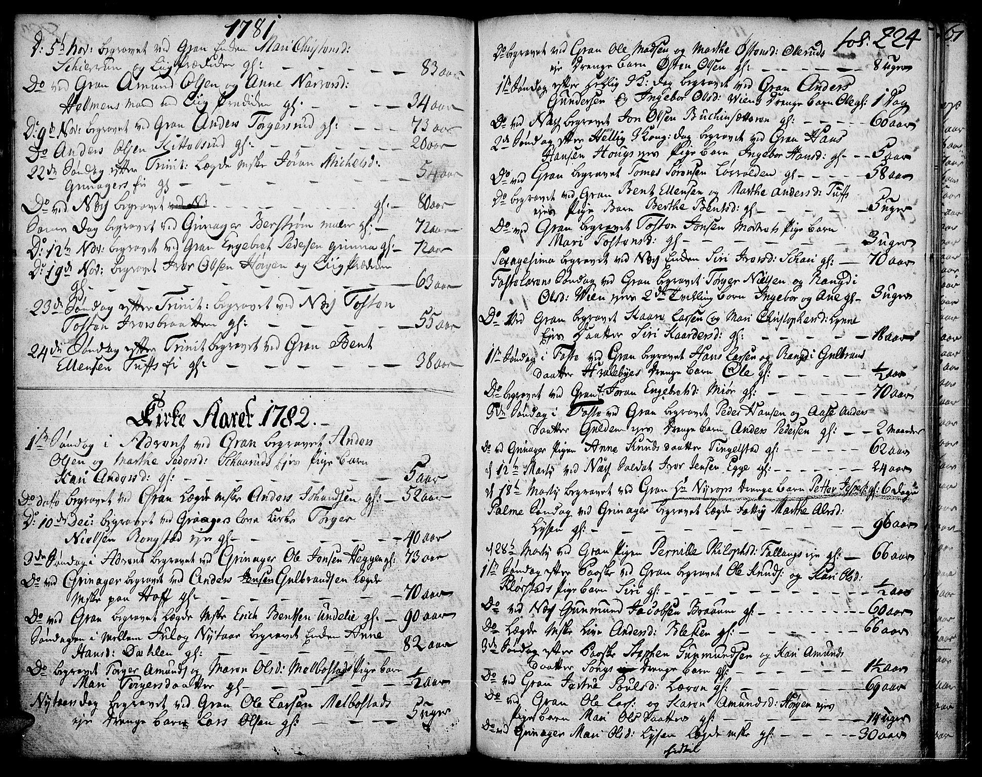 SAH, Gran prestekontor, Ministerialbok nr. 5, 1776-1788, s. 224