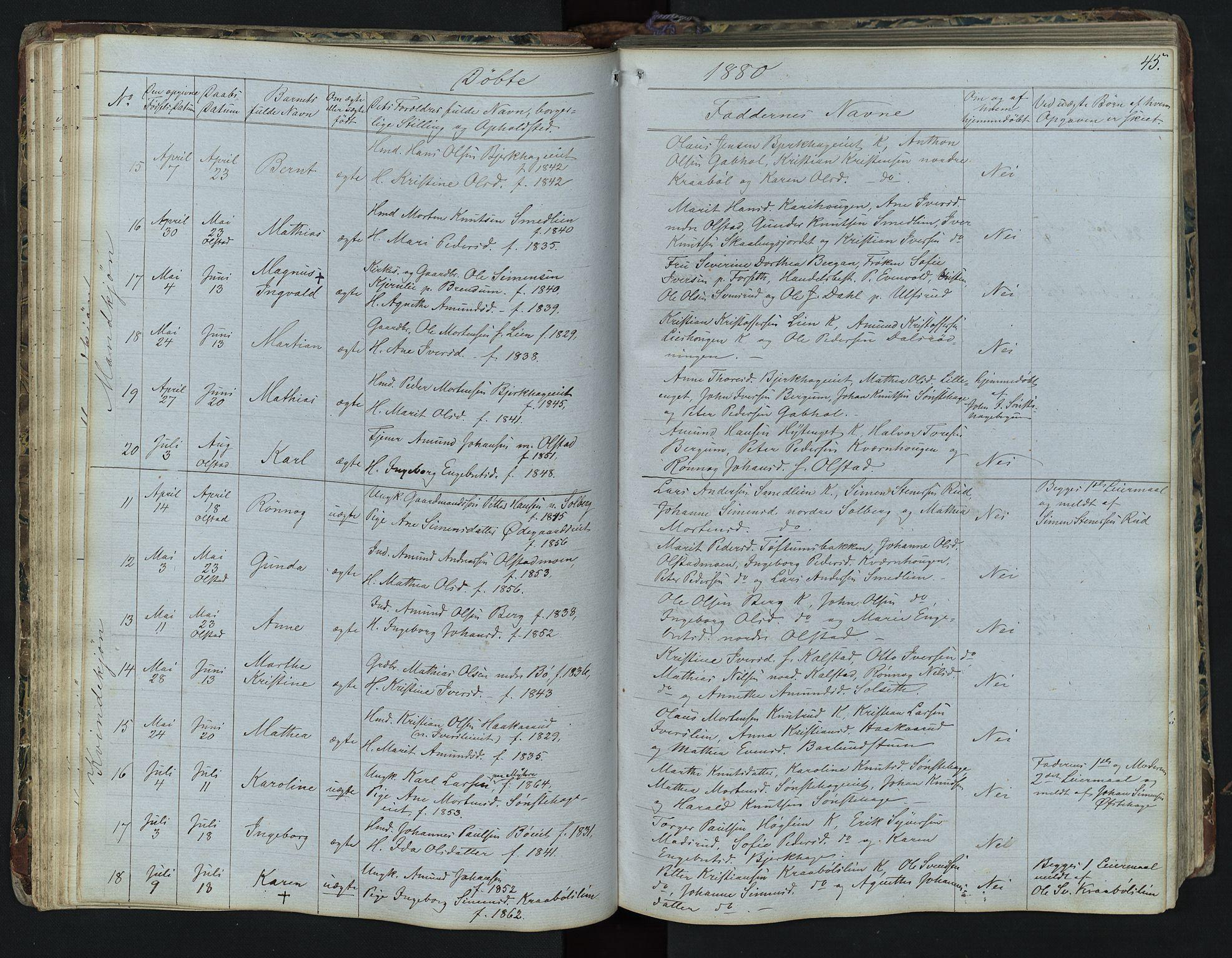 SAH, Vestre Gausdal prestekontor, Klokkerbok nr. 1, 1867-1895, s. 45