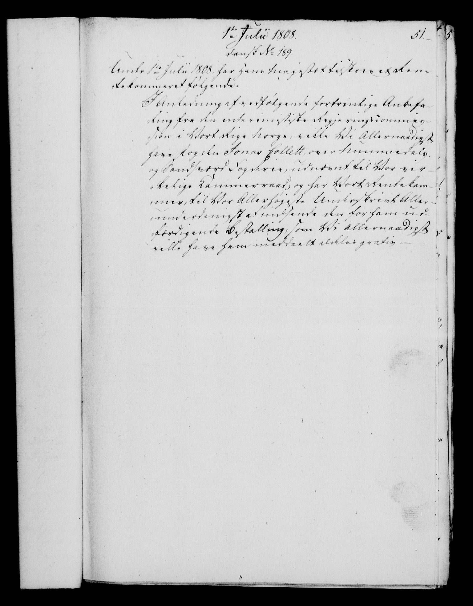 RA, Rentekammeret, Kammerkanselliet, G/Gf/Gfa/L0090: Norsk relasjons- og resolusjonsprotokoll (merket RK 52.90), 1808, s. 257