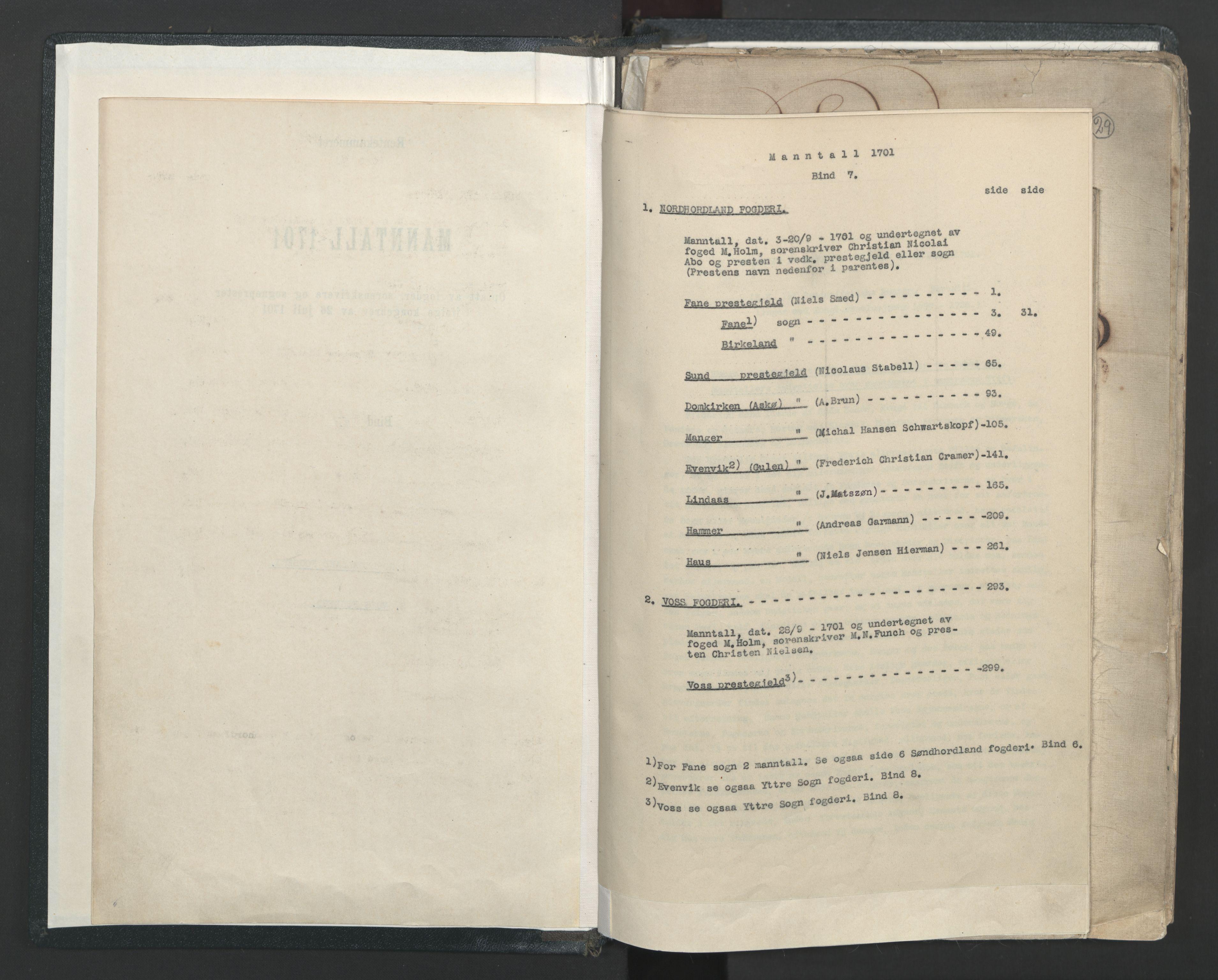 RA, Manntallet 1701, nr. 7: Nordhordland og Voss fogderi, 1701, s. upaginert