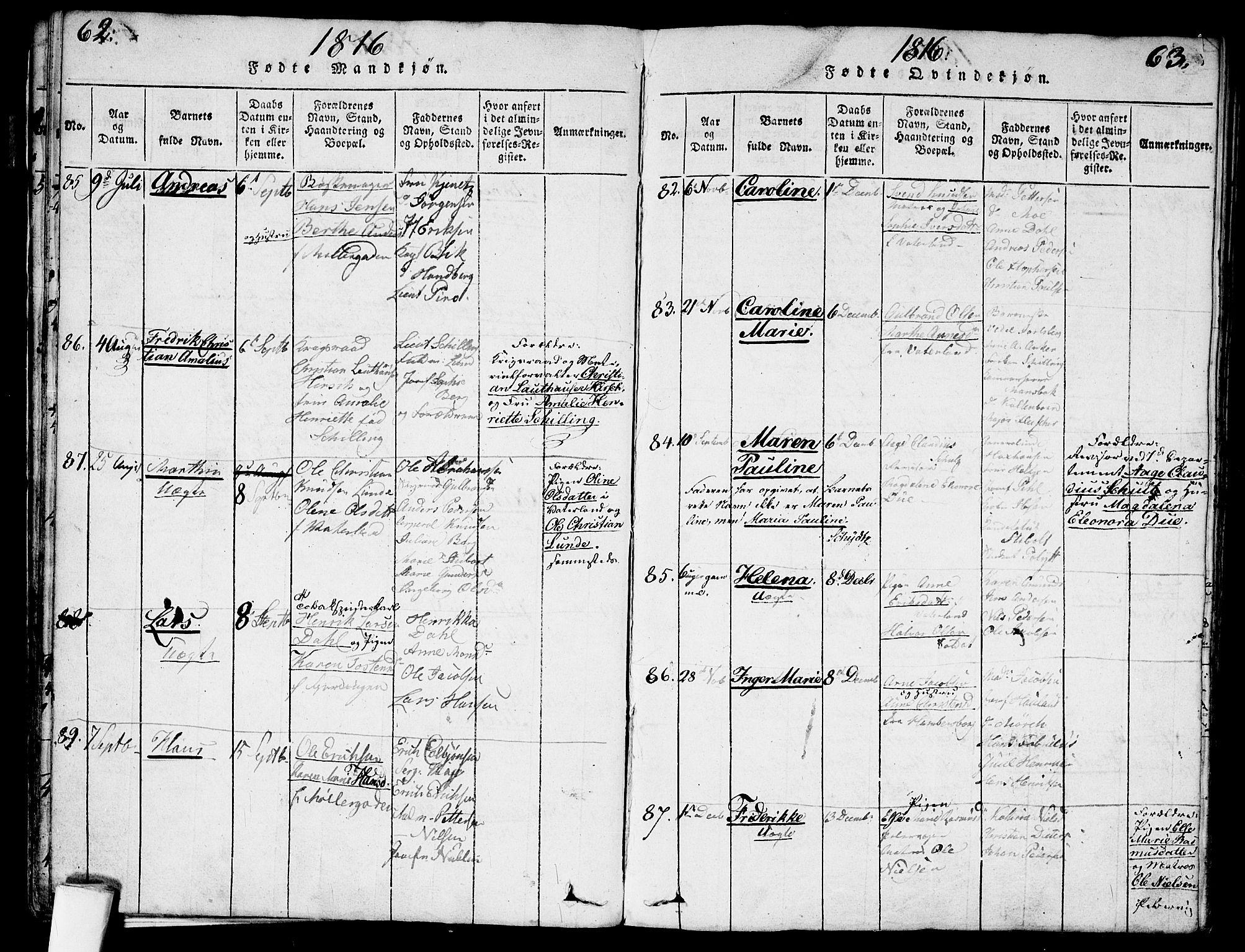 SAO, Garnisonsmenigheten Kirkebøker, G/Ga/L0003: Klokkerbok nr. 3, 1815-1819, s. 62-63