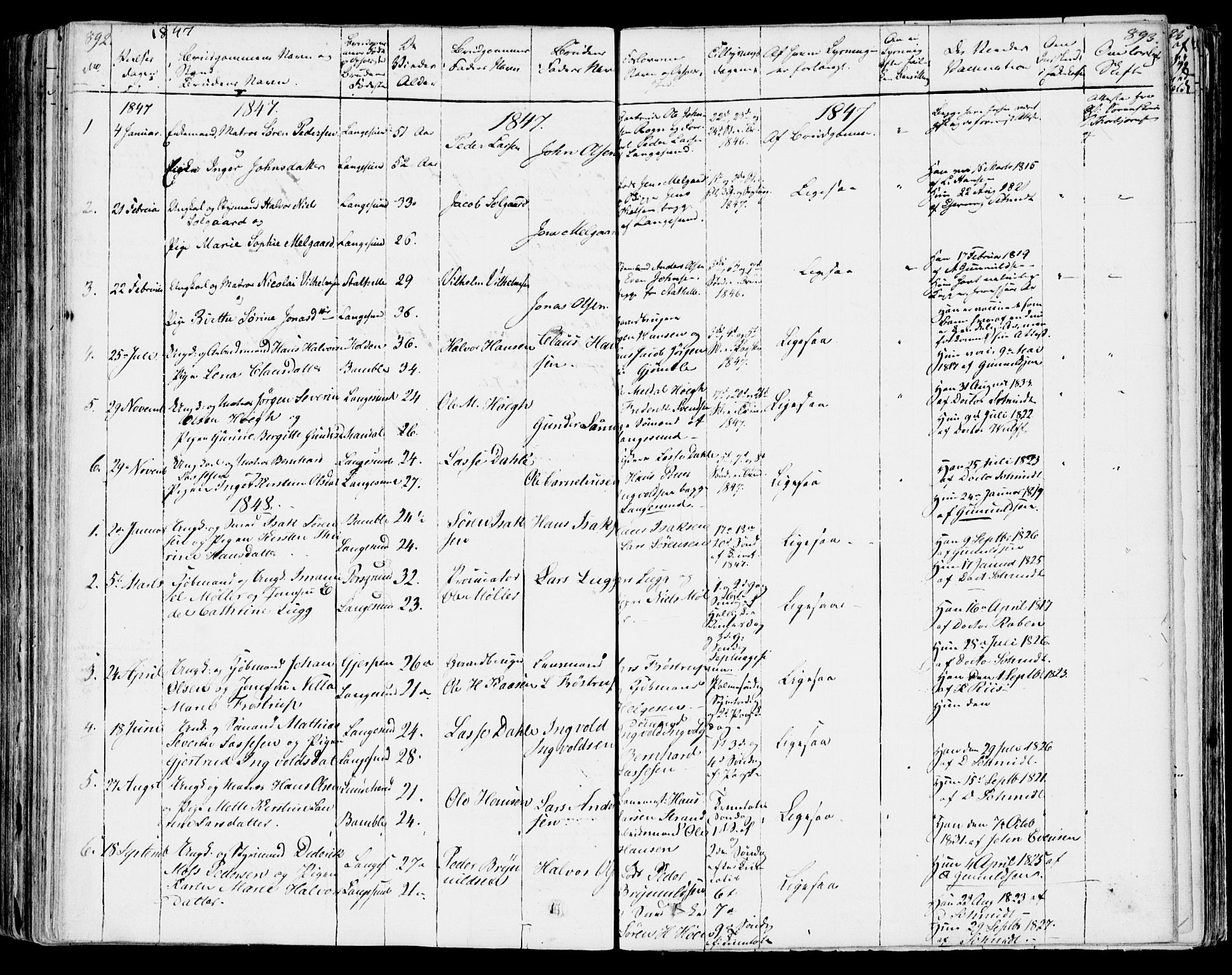 SAKO, Bamble kirkebøker, F/Fa/L0004: Ministerialbok nr. I 4, 1834-1853, s. 892-893