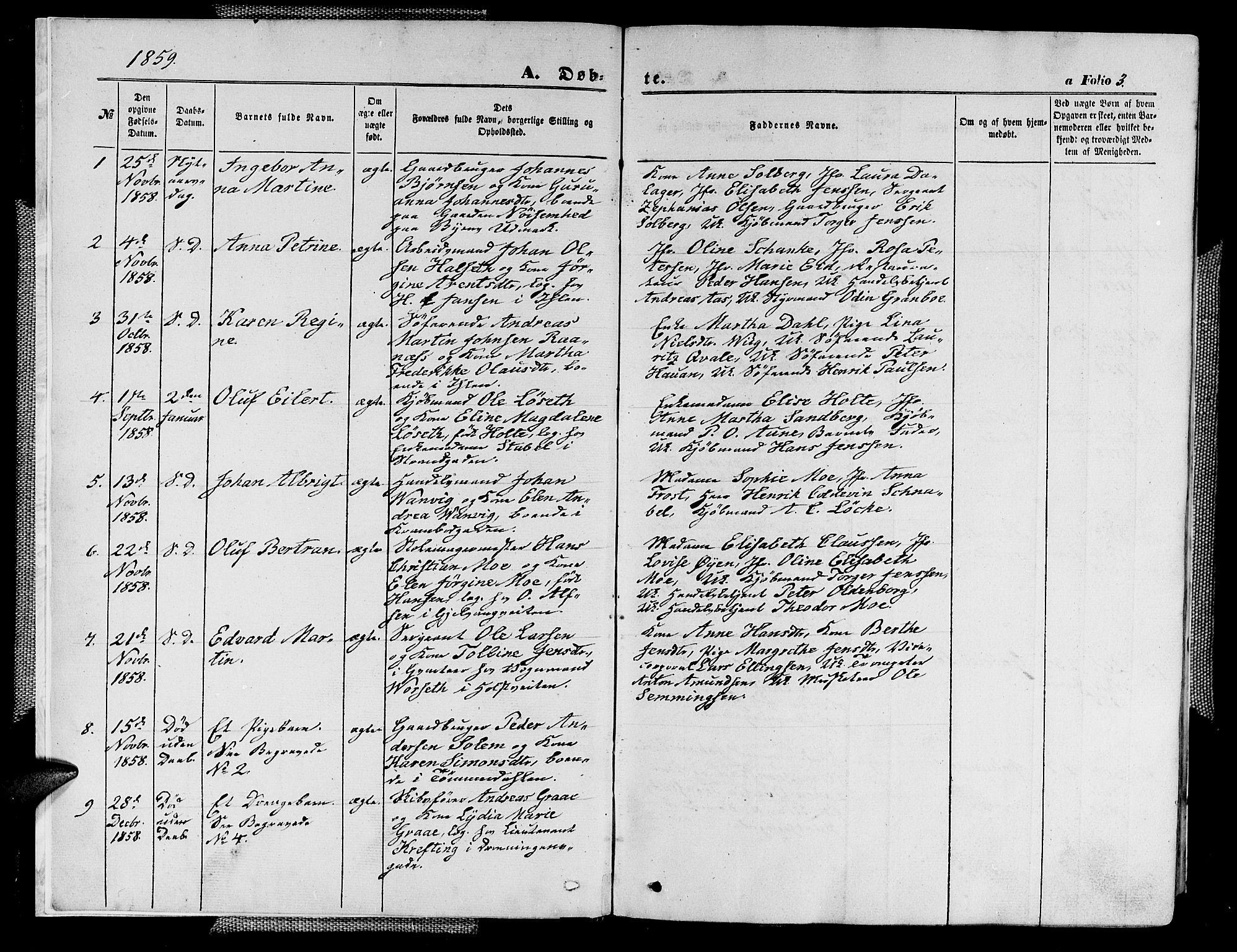 SAT, Ministerialprotokoller, klokkerbøker og fødselsregistre - Sør-Trøndelag, 602/L0139: Klokkerbok nr. 602C07, 1859-1864, s. 3
