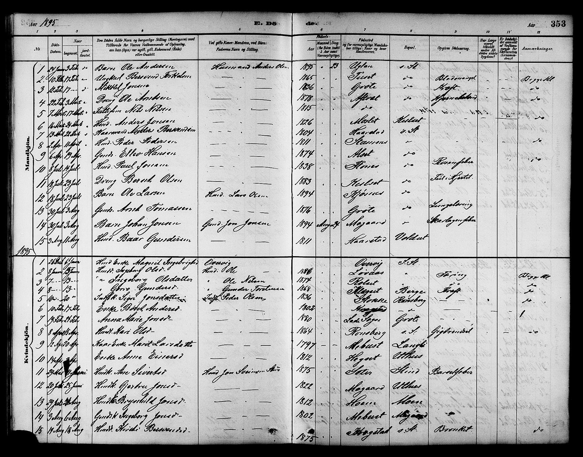 SAT, Ministerialprotokoller, klokkerbøker og fødselsregistre - Sør-Trøndelag, 695/L1157: Klokkerbok nr. 695C08, 1889-1913, s. 353