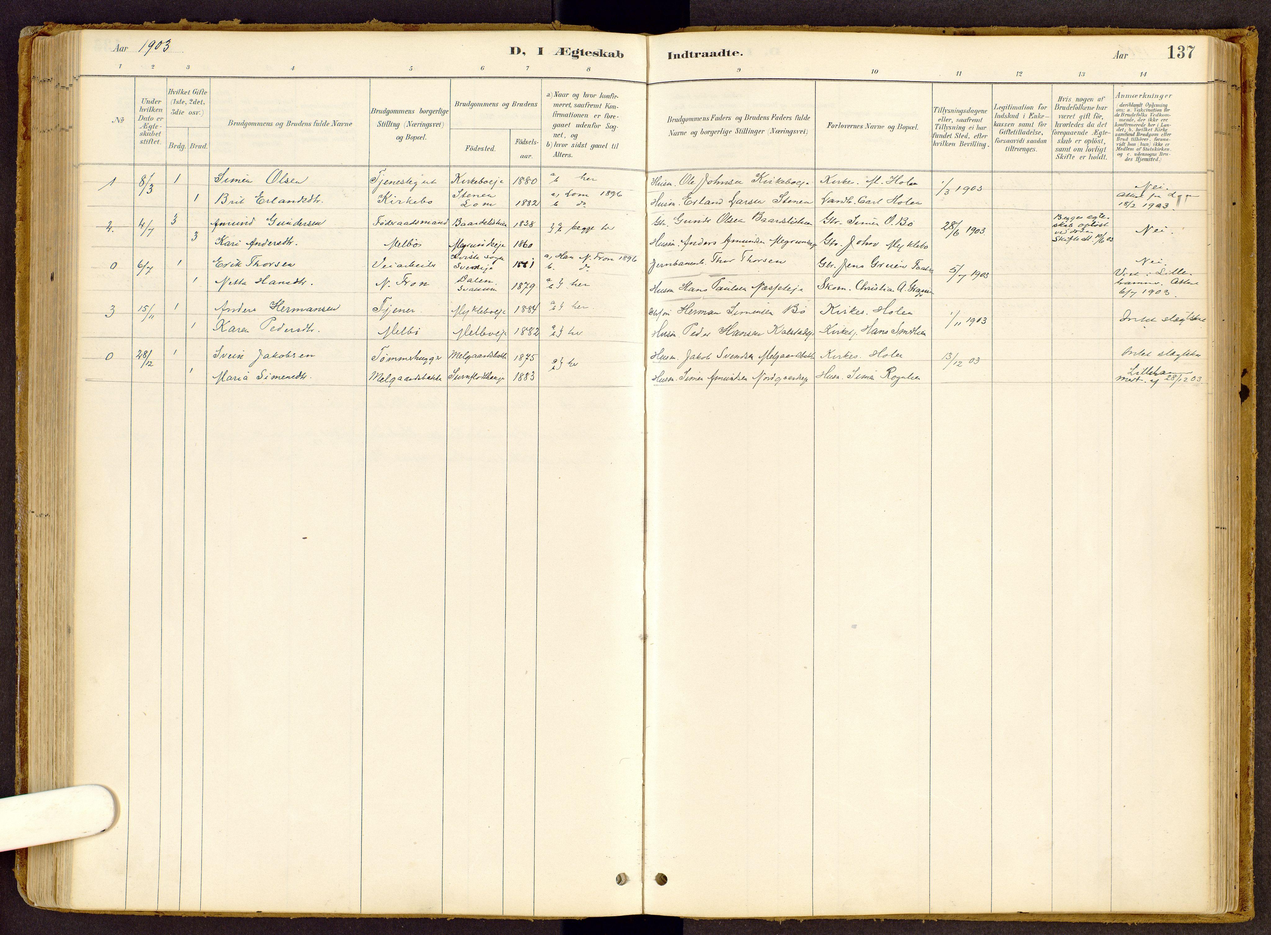 SAH, Vestre Gausdal prestekontor, Ministerialbok nr. 2, 1887-1918, s. 137