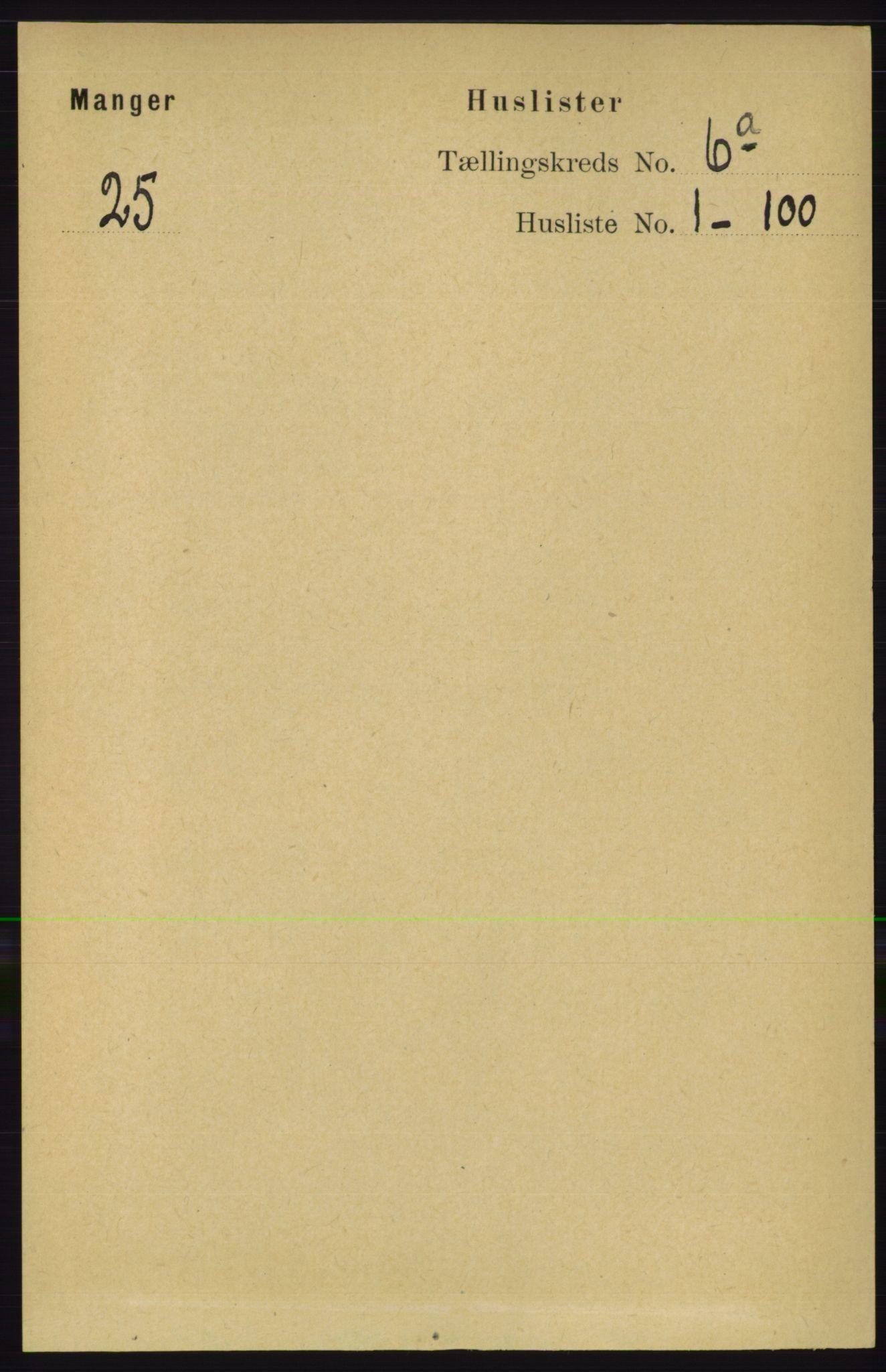 RA, Folketelling 1891 for 1261 Manger herred, 1891, s. 3309