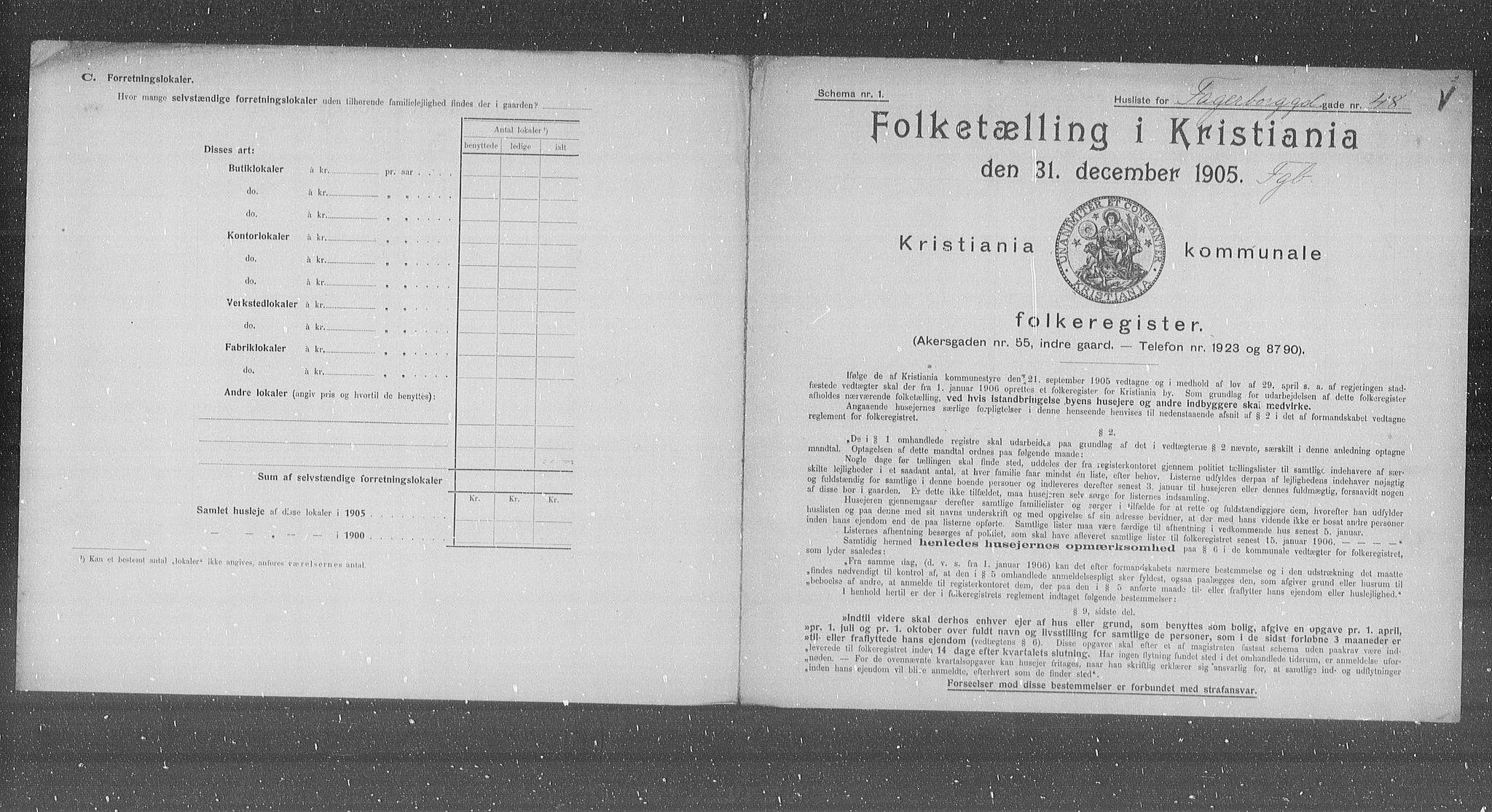OBA, Kommunal folketelling 1905 for Kristiania kjøpstad, 1905, s. 11869