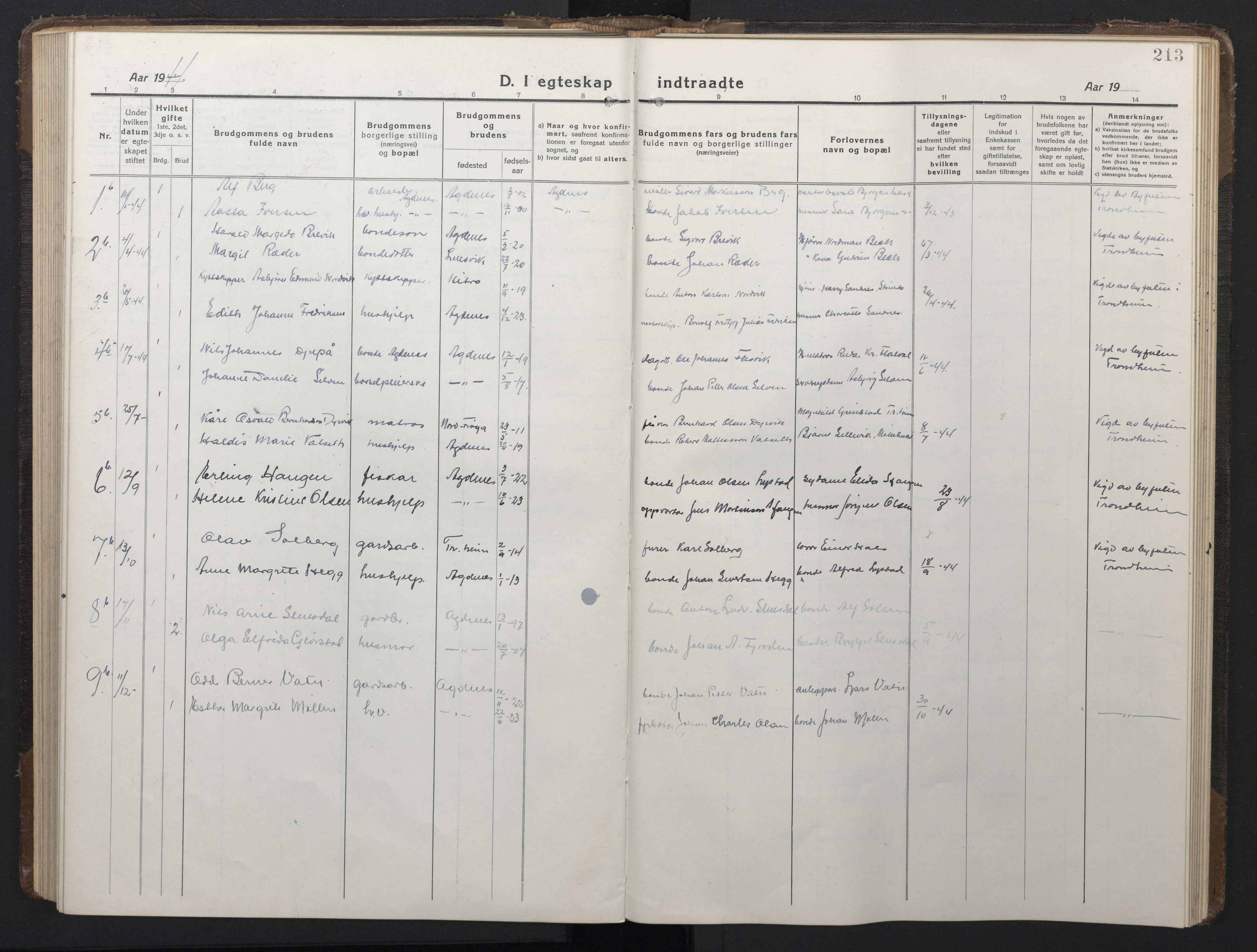 SAT, Ministerialprotokoller, klokkerbøker og fødselsregistre - Sør-Trøndelag, 662/L0758: Klokkerbok nr. 662C03, 1918-1948, s. 213