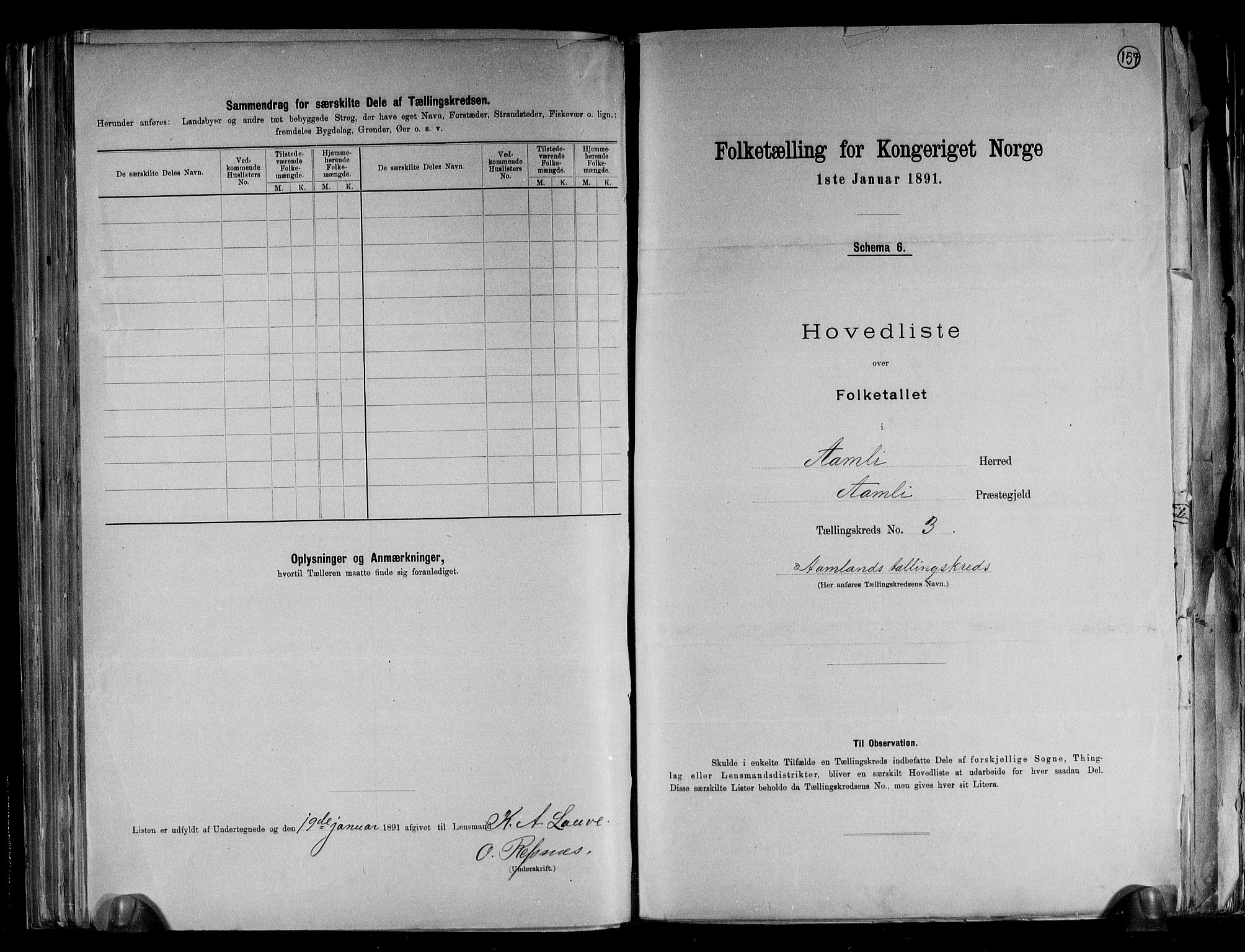 RA, Folketelling 1891 for 0929 Åmli herred, 1891, s. 9