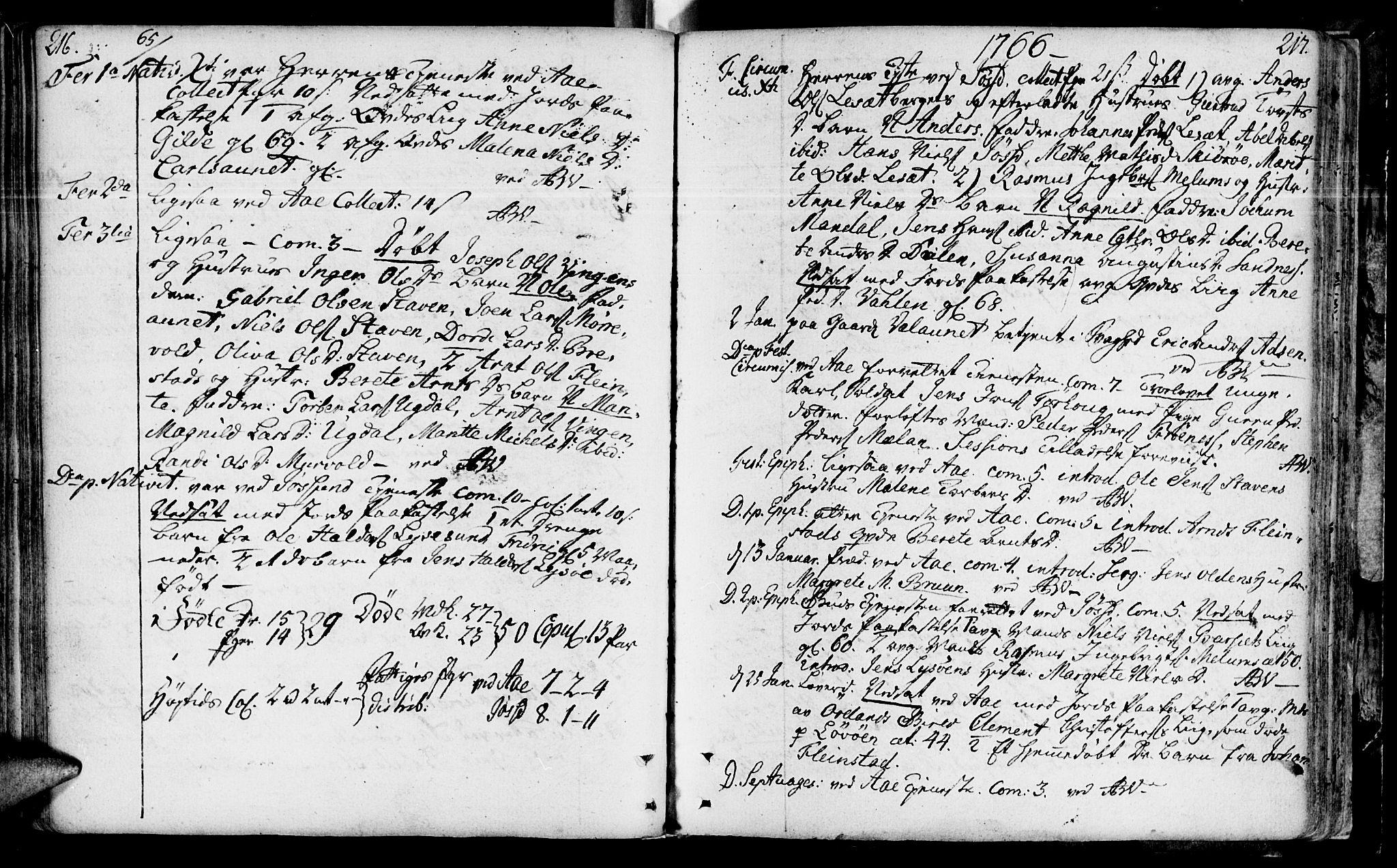 SAT, Ministerialprotokoller, klokkerbøker og fødselsregistre - Sør-Trøndelag, 655/L0672: Ministerialbok nr. 655A01, 1750-1779, s. 216-217