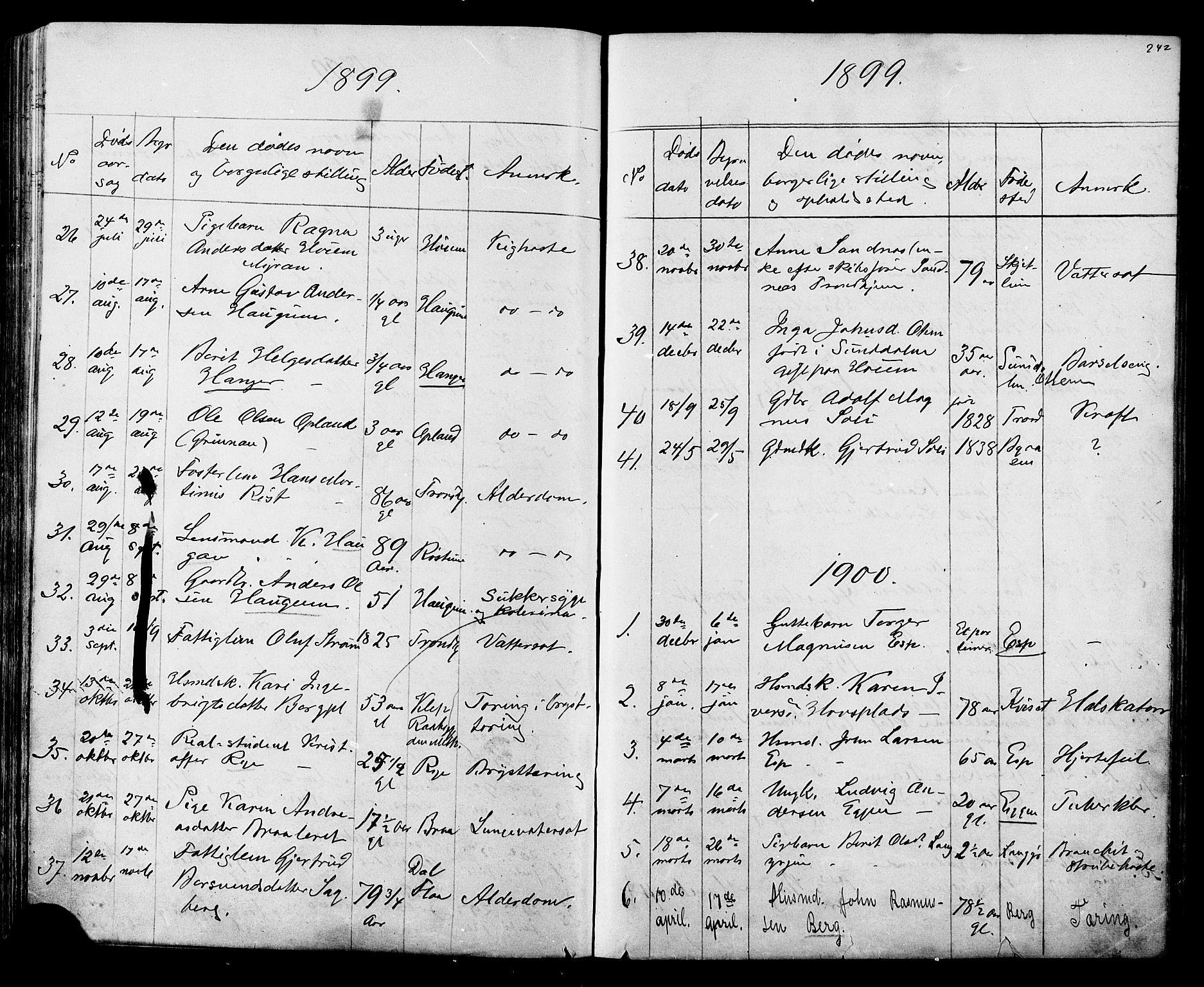 SAT, Ministerialprotokoller, klokkerbøker og fødselsregistre - Sør-Trøndelag, 612/L0387: Klokkerbok nr. 612C03, 1874-1908, s. 242