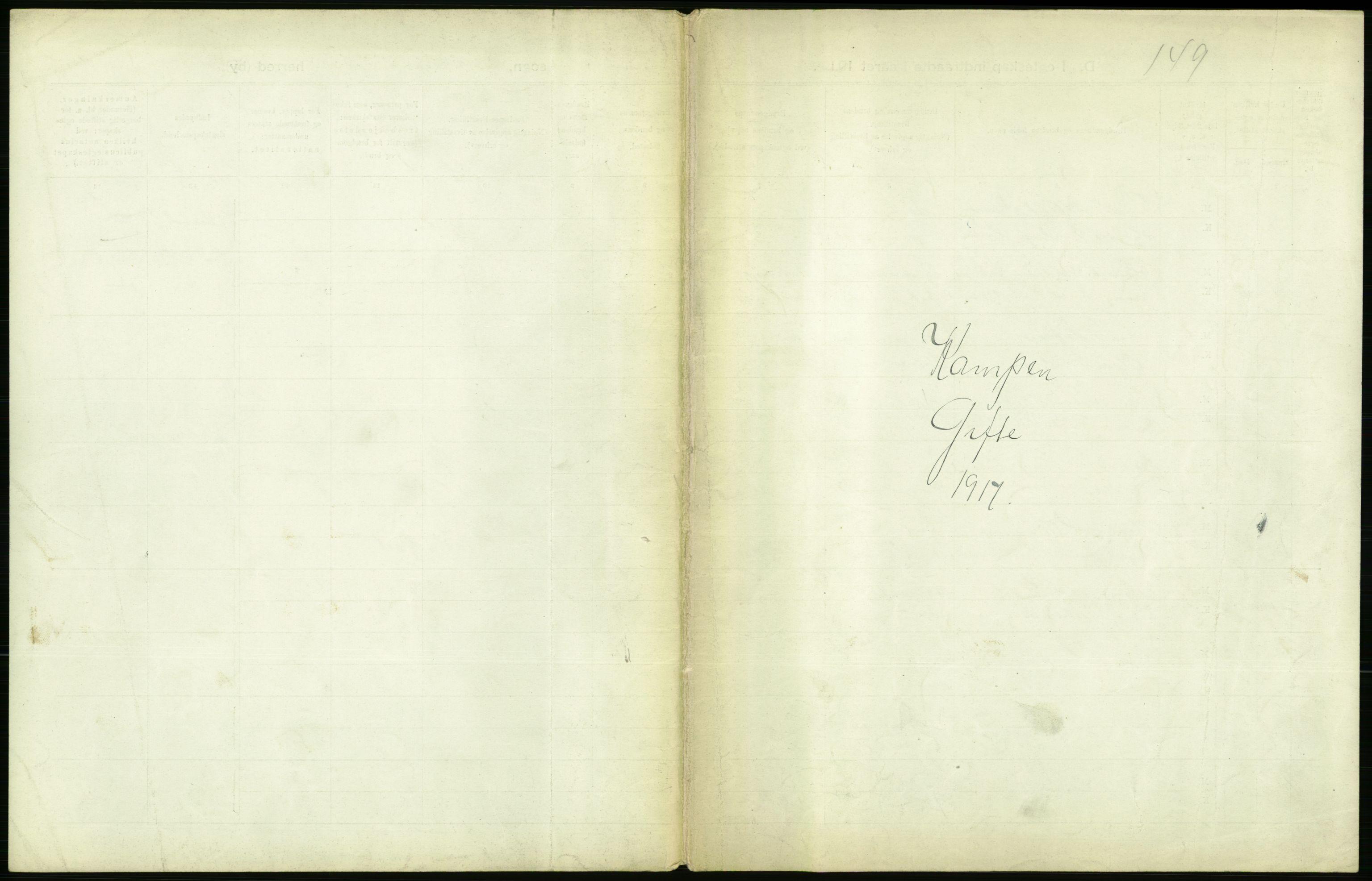 RA, Statistisk sentralbyrå, Sosiodemografiske emner, Befolkning, D/Df/Dfb/Dfbg/L0009: Kristiania: Gifte, 1917