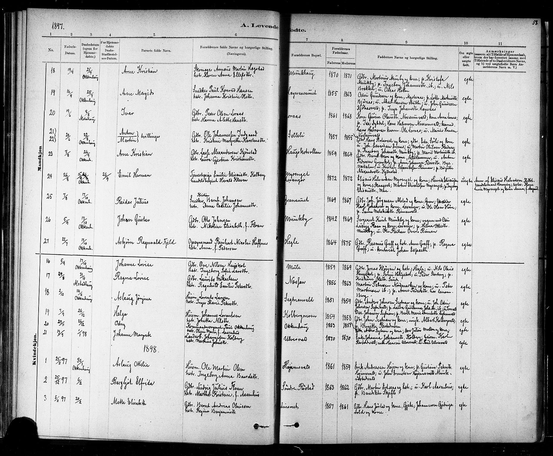 SAT, Ministerialprotokoller, klokkerbøker og fødselsregistre - Nord-Trøndelag, 721/L0208: Klokkerbok nr. 721C01, 1880-1917, s. 58