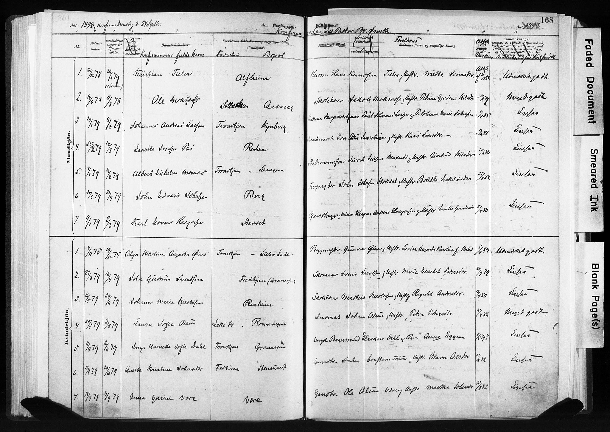SAT, Ministerialprotokoller, klokkerbøker og fødselsregistre - Sør-Trøndelag, 606/L0300: Ministerialbok nr. 606A15, 1886-1893, s. 168