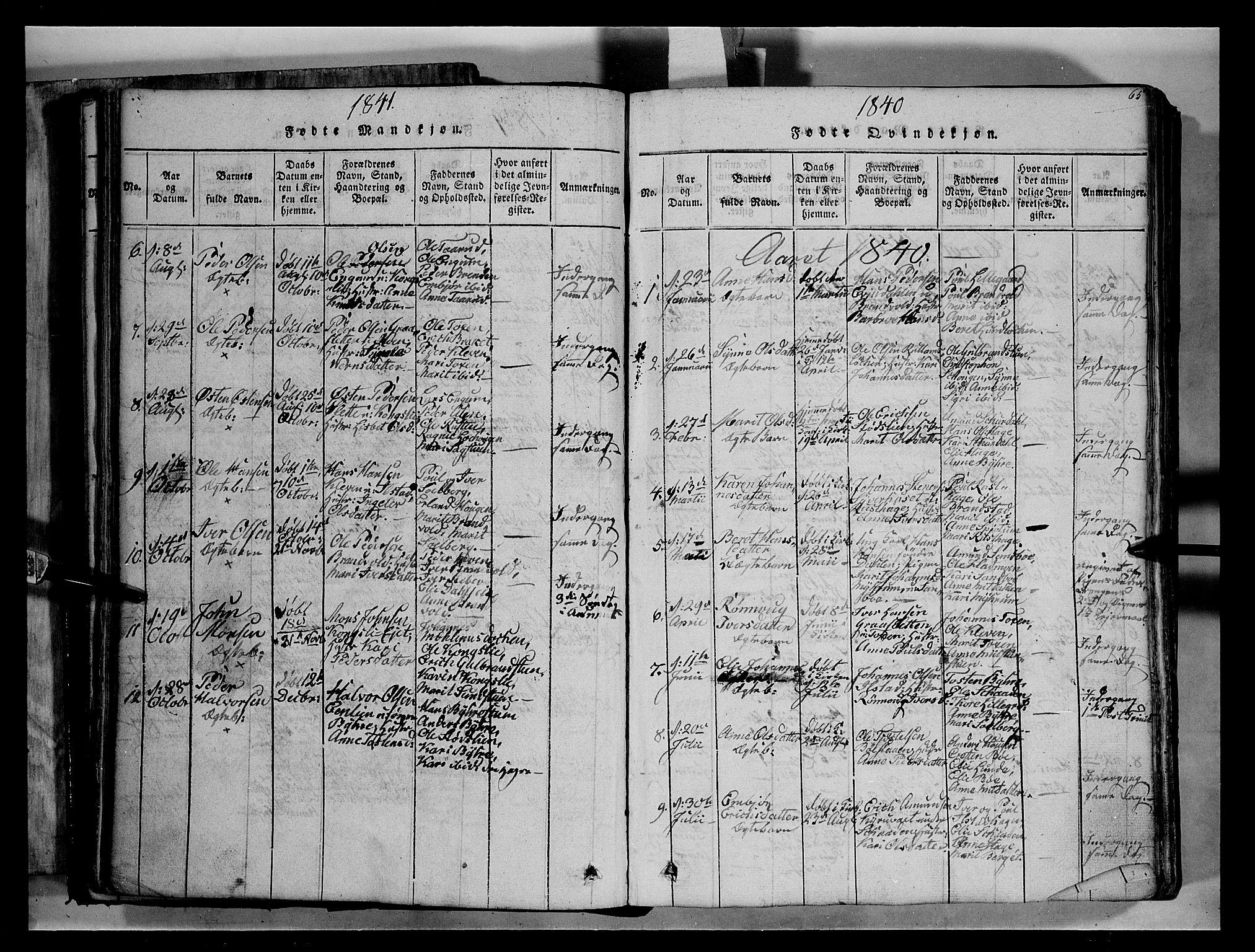 SAH, Fron prestekontor, H/Ha/Hab/L0004: Klokkerbok nr. 4, 1816-1850, s. 65