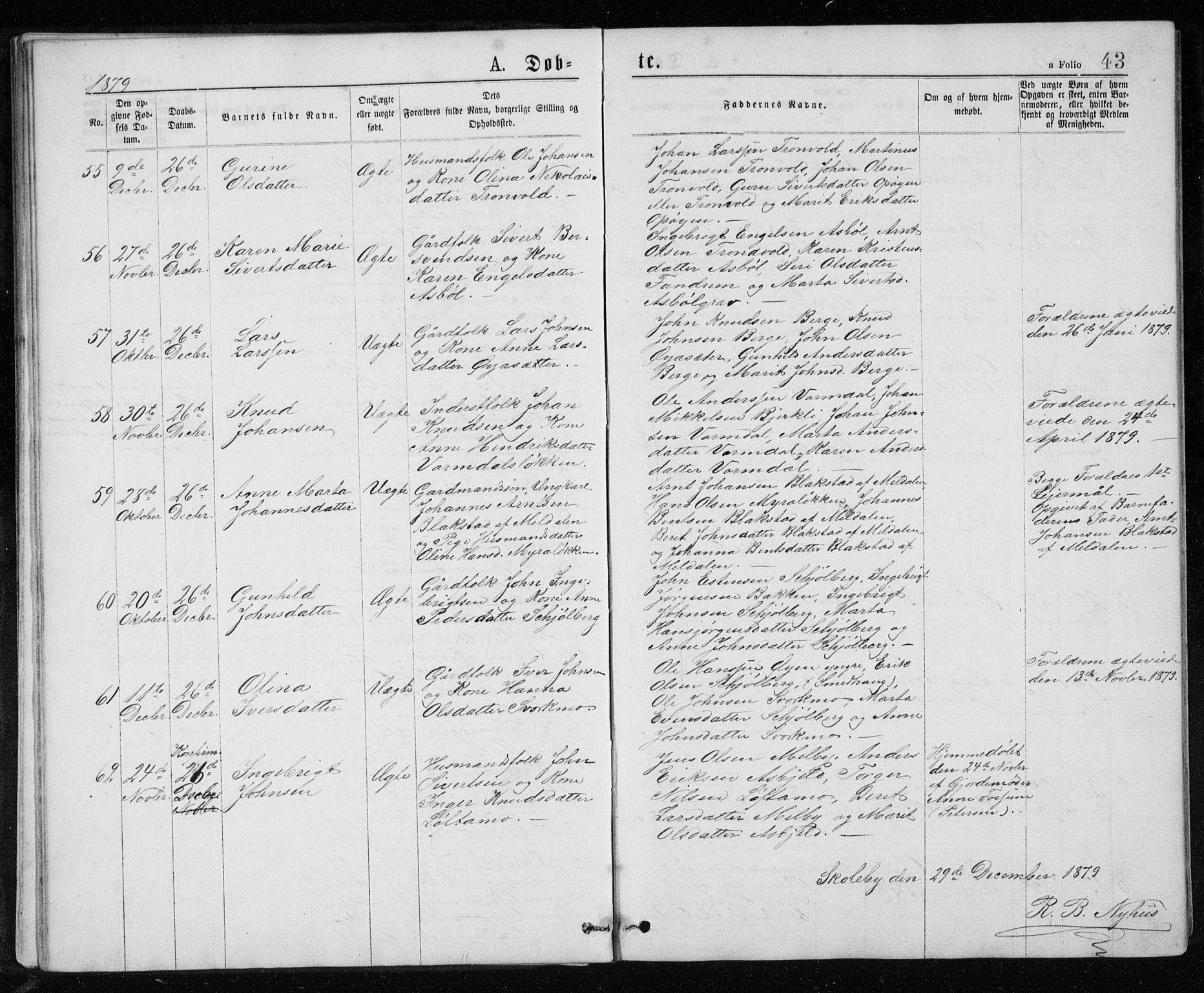 SAT, Ministerialprotokoller, klokkerbøker og fødselsregistre - Sør-Trøndelag, 671/L0843: Klokkerbok nr. 671C02, 1873-1892, s. 43
