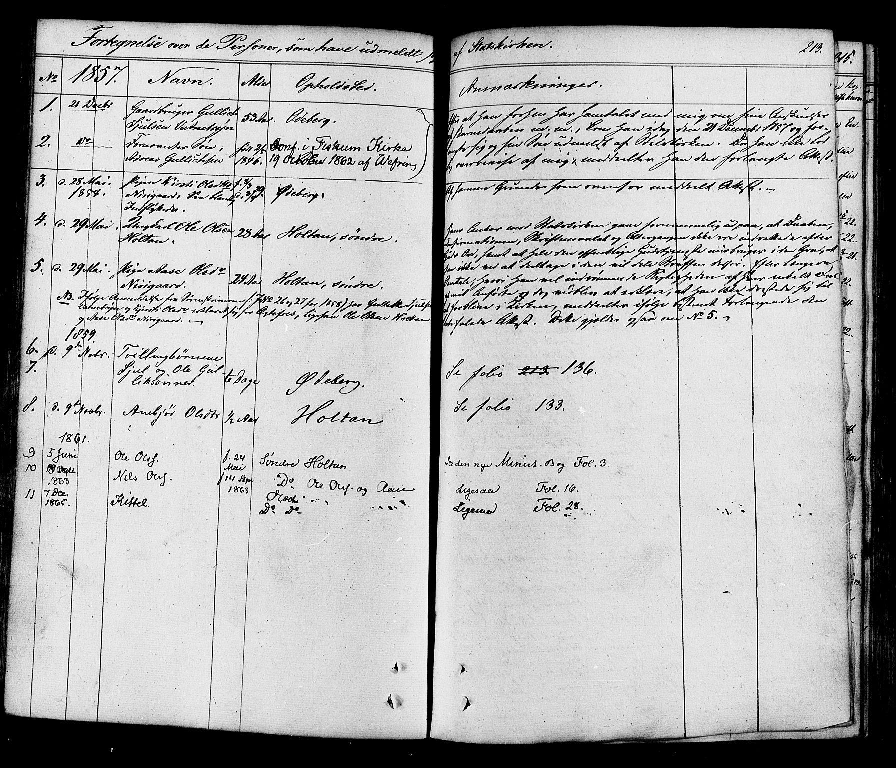 SAKO, Flesberg kirkebøker, F/Fa/L0006: Ministerialbok nr. I 6, 1834-1860, s. 213