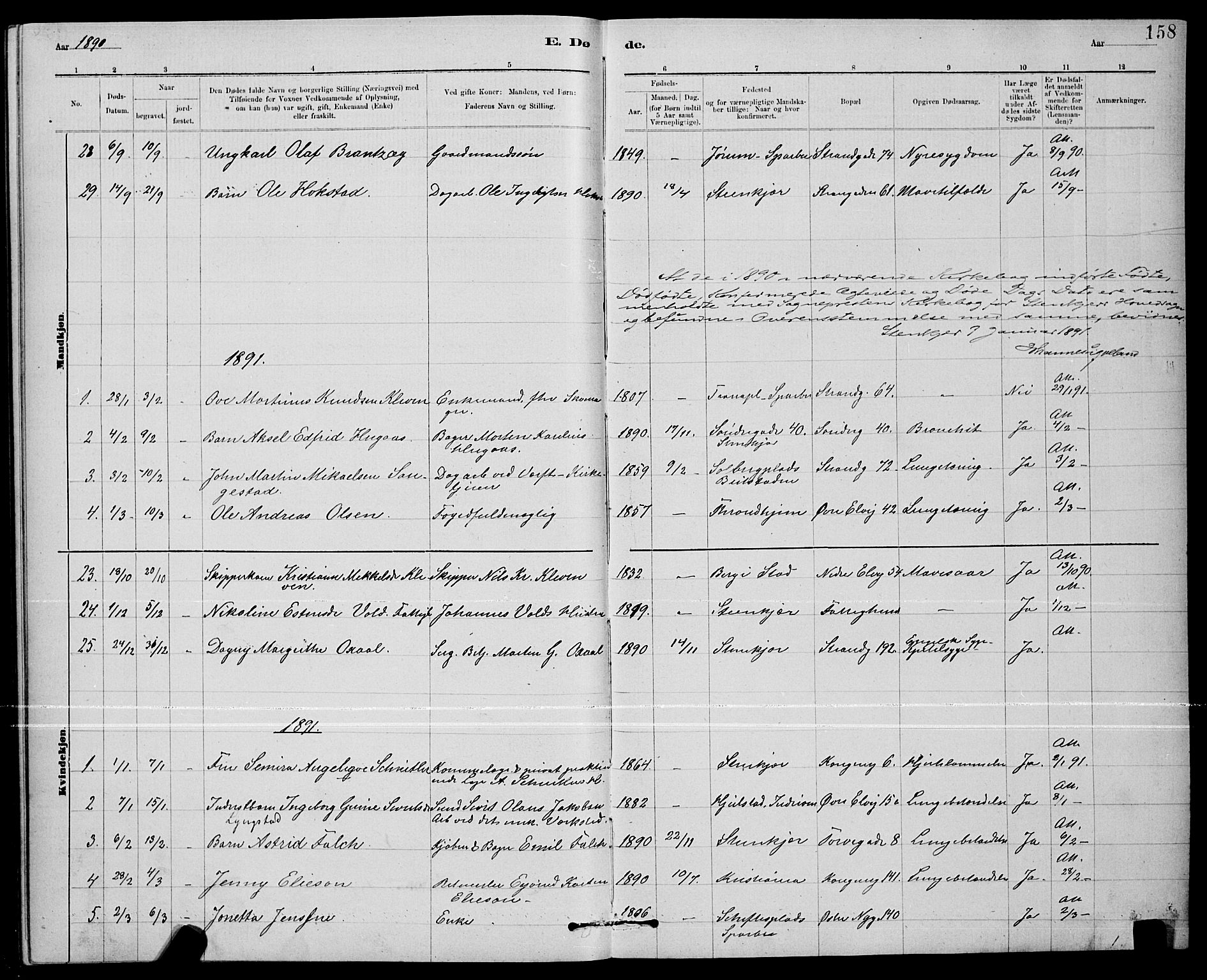 SAT, Ministerialprotokoller, klokkerbøker og fødselsregistre - Nord-Trøndelag, 739/L0374: Klokkerbok nr. 739C02, 1883-1898, s. 158