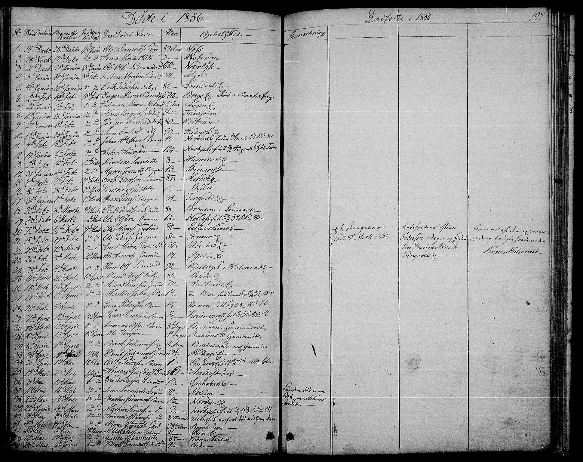 SAH, Søndre Land prestekontor, L/L0001: Klokkerbok nr. 1, 1849-1883, s. 197