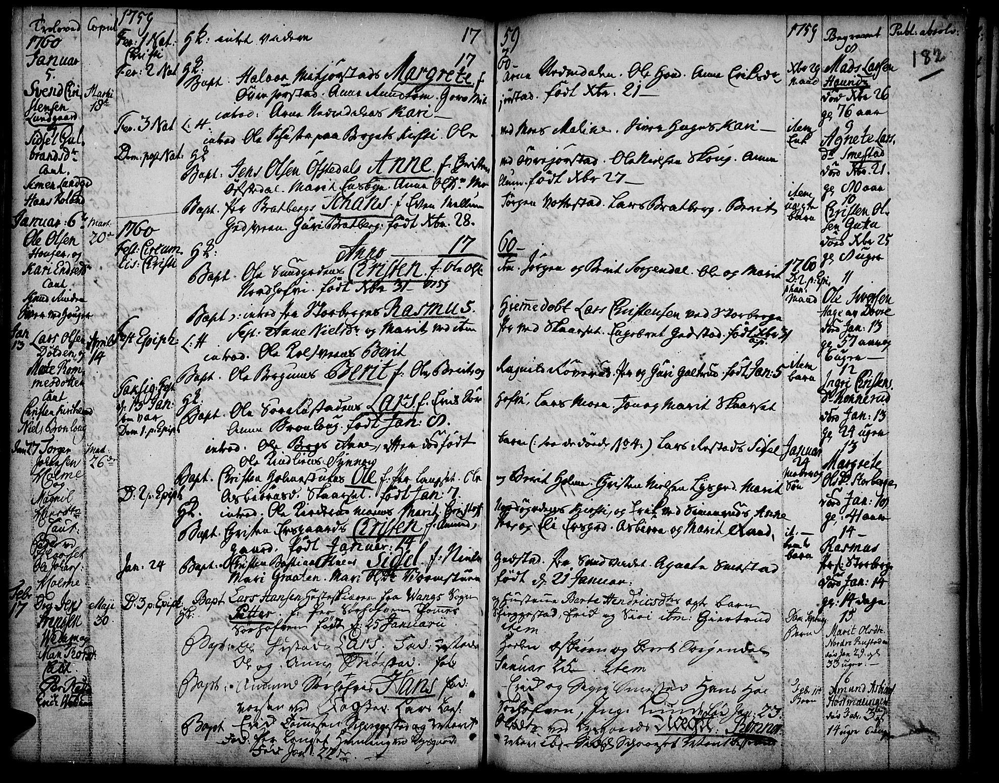 SAH, Fåberg prestekontor, Ministerialbok nr. 1, 1727-1775, s. 182