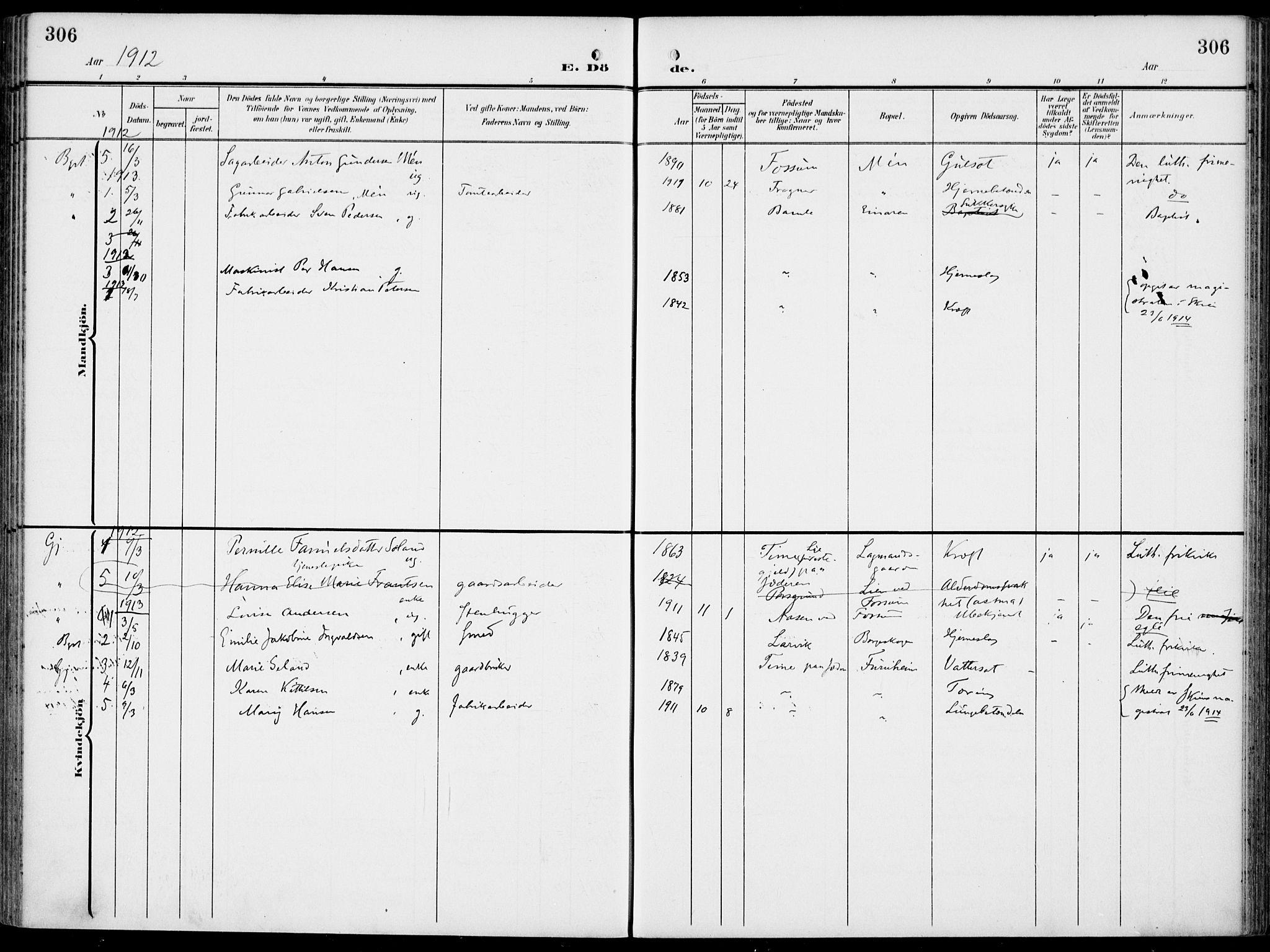 SAKO, Gjerpen kirkebøker, F/Fa/L0012: Ministerialbok nr. 12, 1905-1913, s. 306