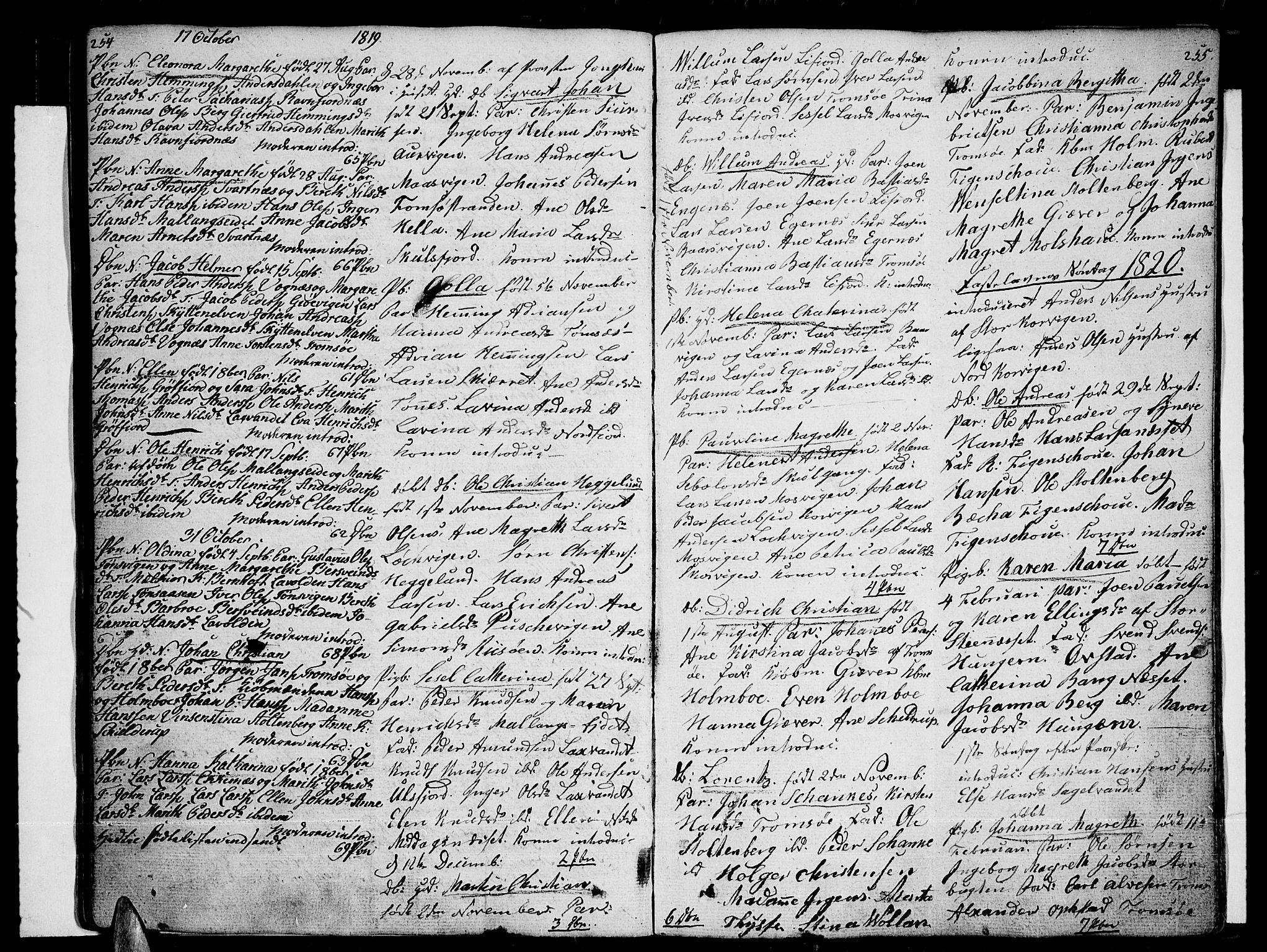 SATØ, Tromsø sokneprestkontor/stiftsprosti/domprosti, G/Ga/L0006kirke: Ministerialbok nr. 6, 1806-1821, s. 254-255