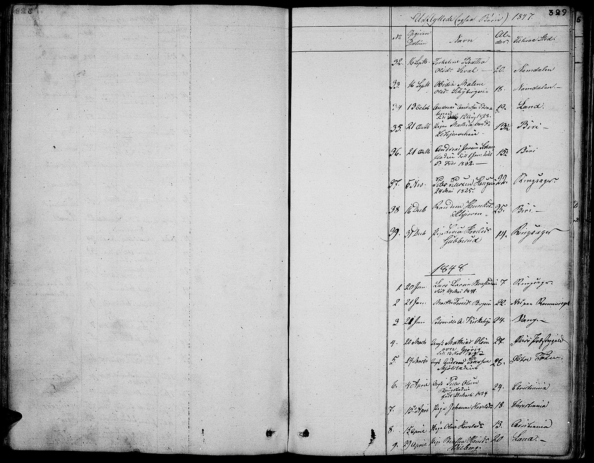SAH, Vardal prestekontor, H/Ha/Hab/L0004: Klokkerbok nr. 4, 1831-1853, s. 329