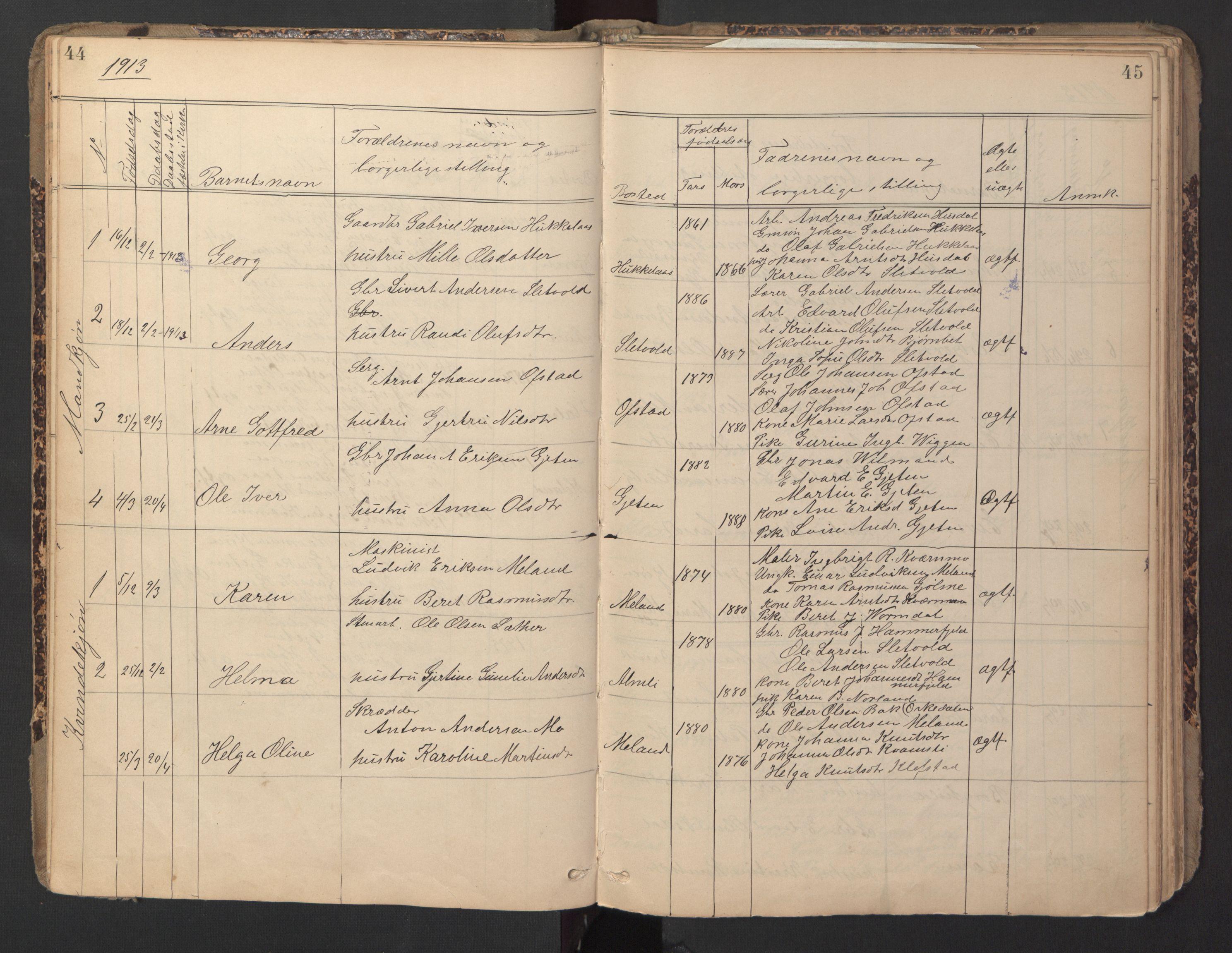 SAT, Ministerialprotokoller, klokkerbøker og fødselsregistre - Sør-Trøndelag, 670/L0837: Klokkerbok nr. 670C01, 1905-1946, s. 44-45