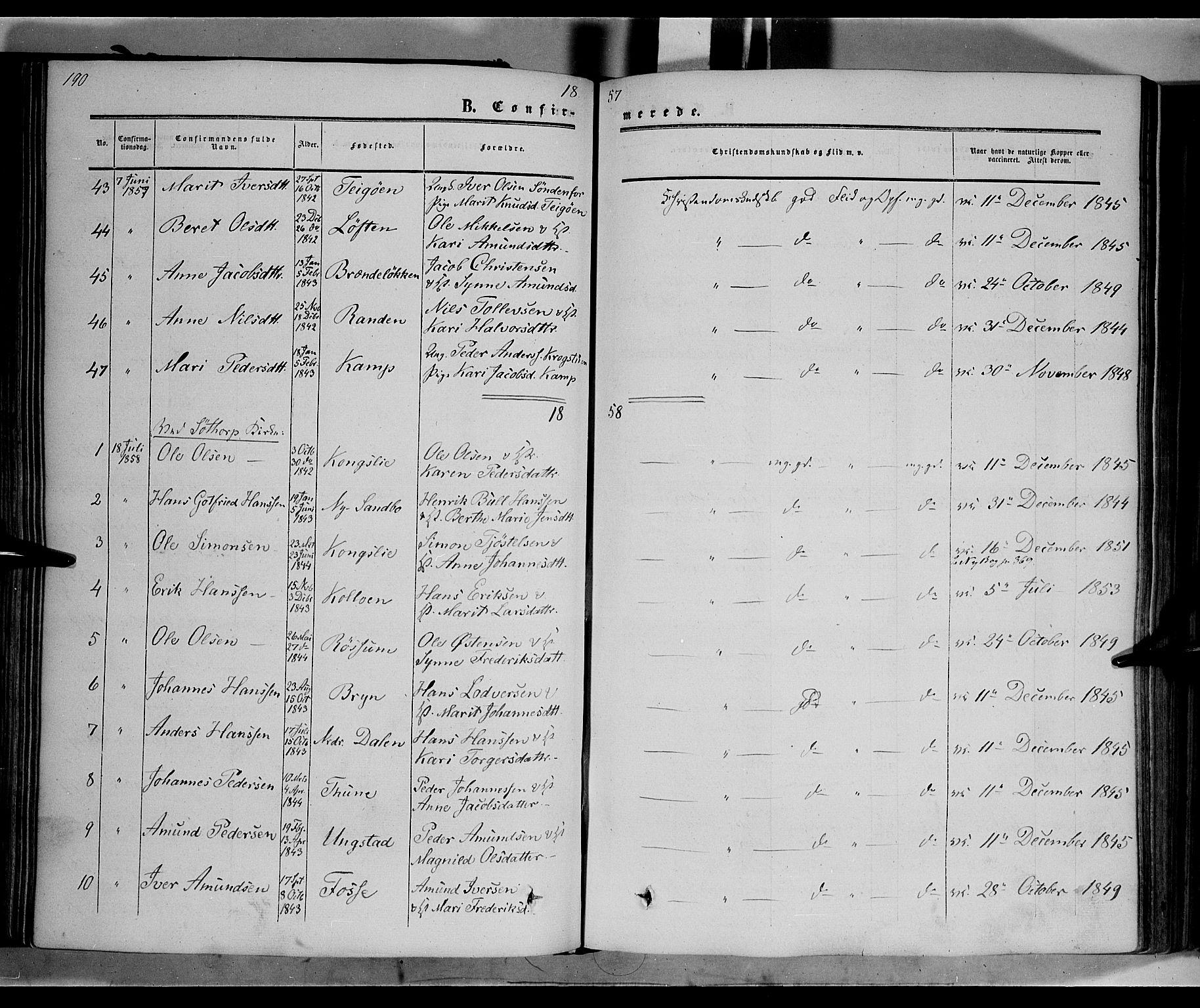 SAH, Nord-Fron prestekontor, Ministerialbok nr. 1, 1851-1864, s. 190