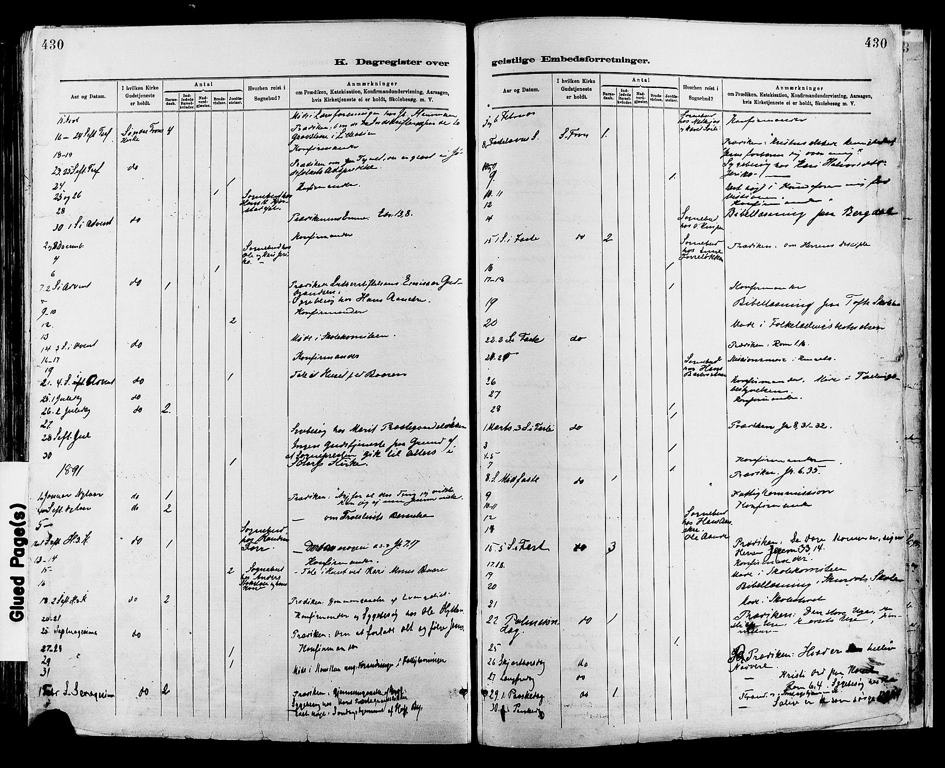 SAH, Sør-Fron prestekontor, H/Ha/Haa/L0003: Ministerialbok nr. 3, 1881-1897, s. 430