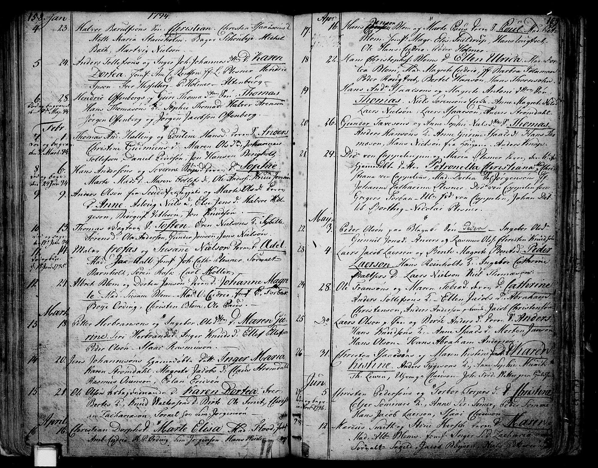 SAKO, Skien kirkebøker, F/Fa/L0004: Ministerialbok nr. 4, 1792-1814, s. 158-159