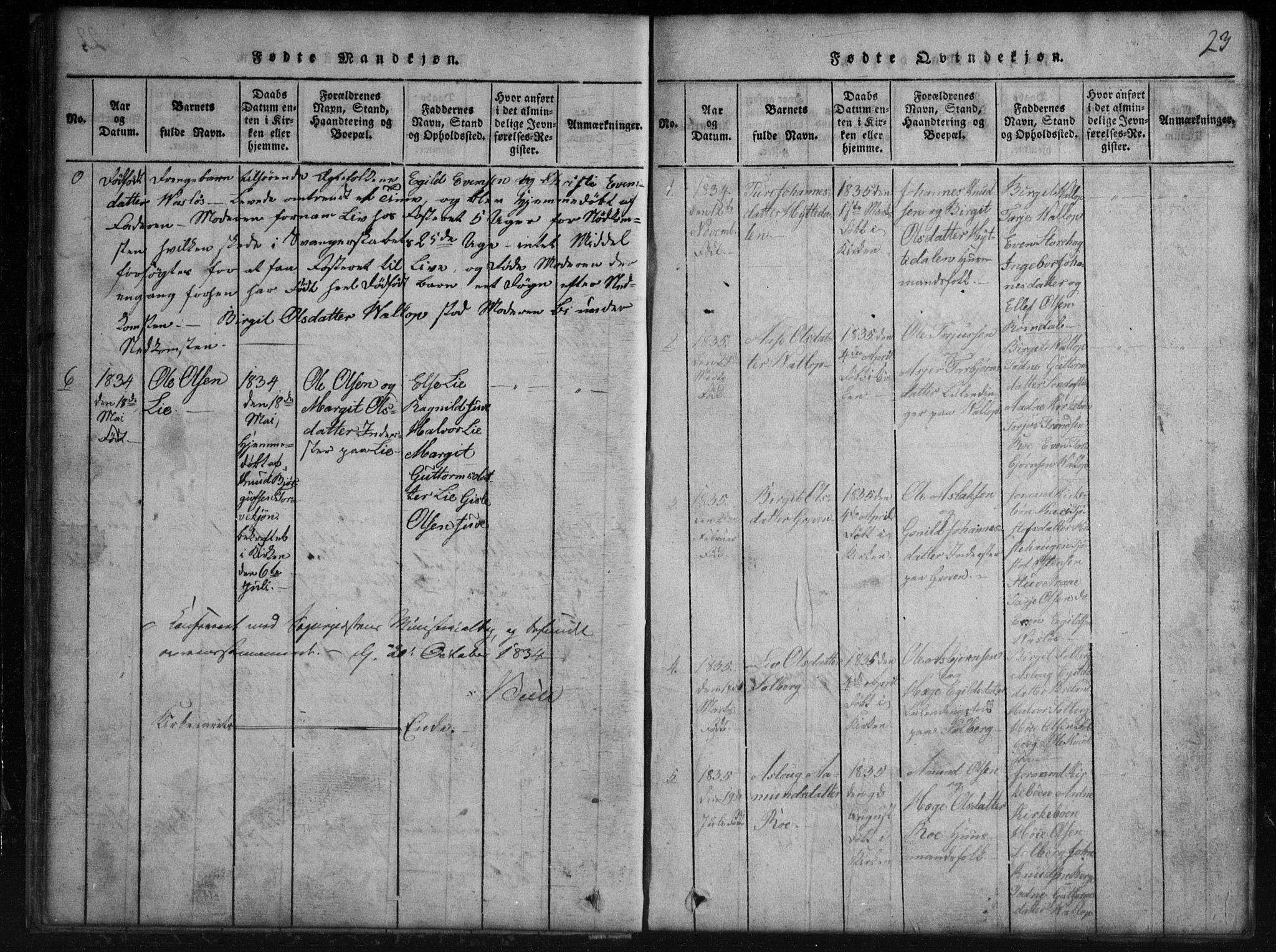SAKO, Rauland kirkebøker, G/Gb/L0001: Klokkerbok nr. II 1, 1815-1886, s. 23