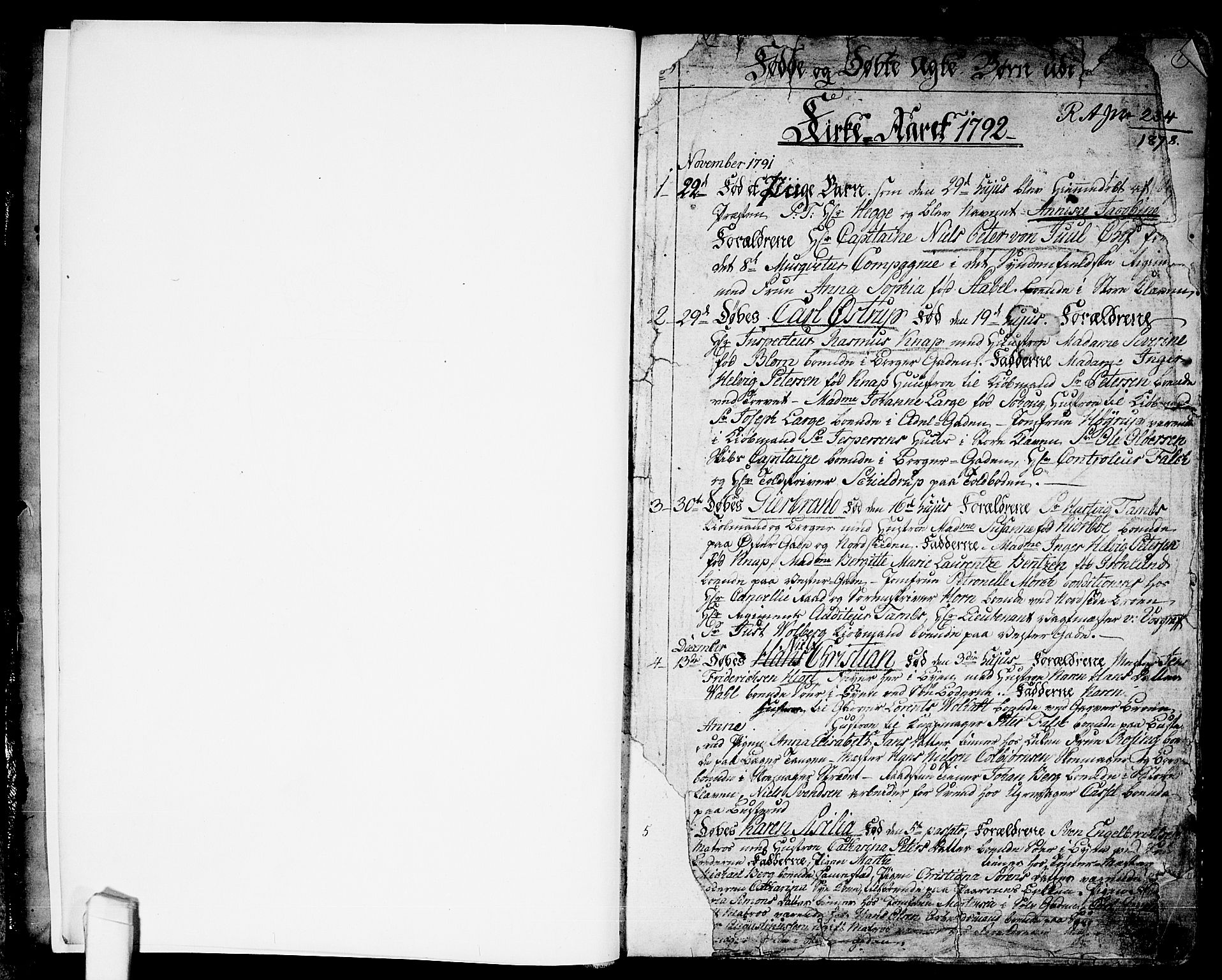 SAO, Halden prestekontor Kirkebøker, F/Fa/L0002: Ministerialbok nr. I 2, 1792-1812, s. 1