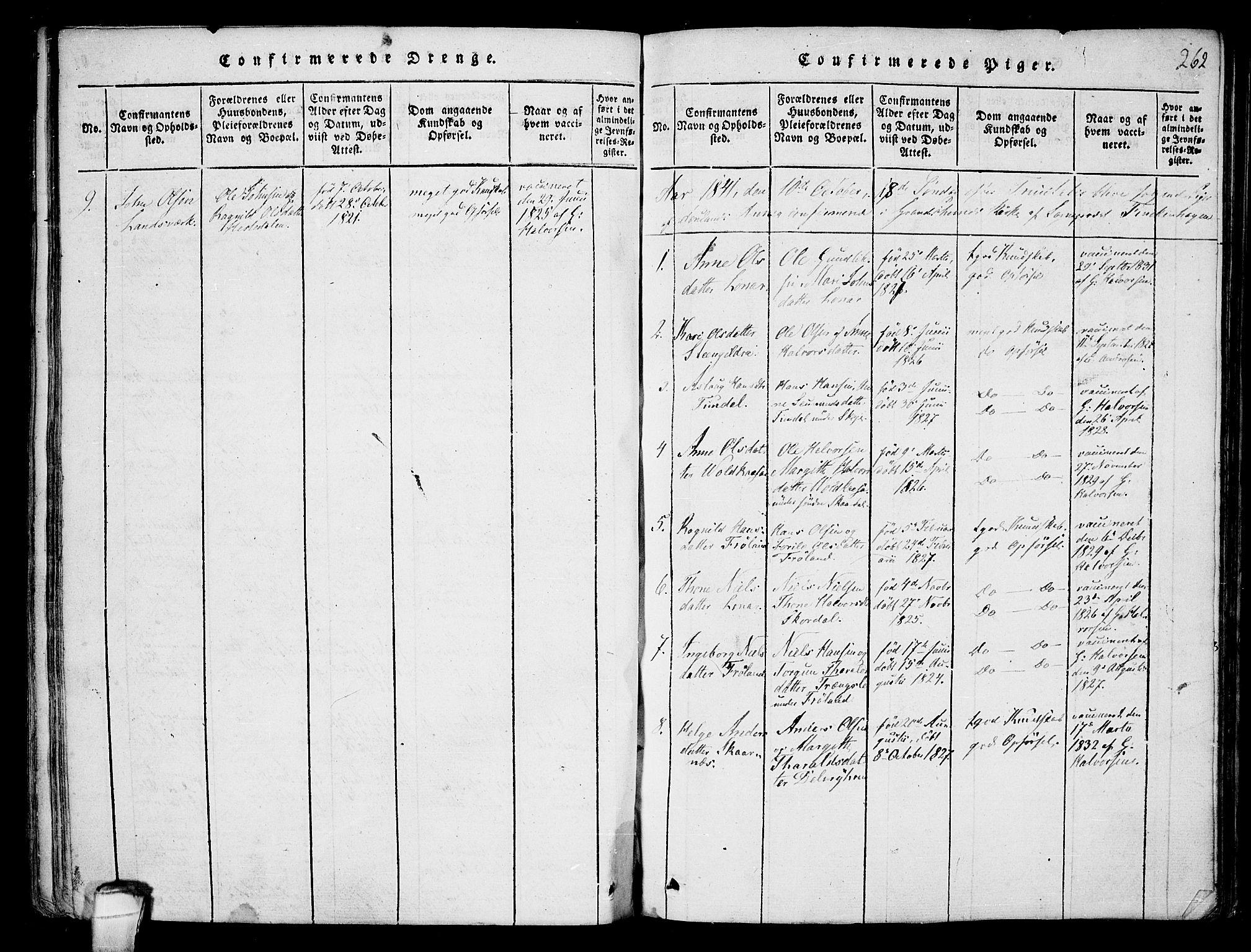 SAKO, Hjartdal kirkebøker, F/Fb/L0001: Ministerialbok nr. II 1, 1815-1843, s. 262