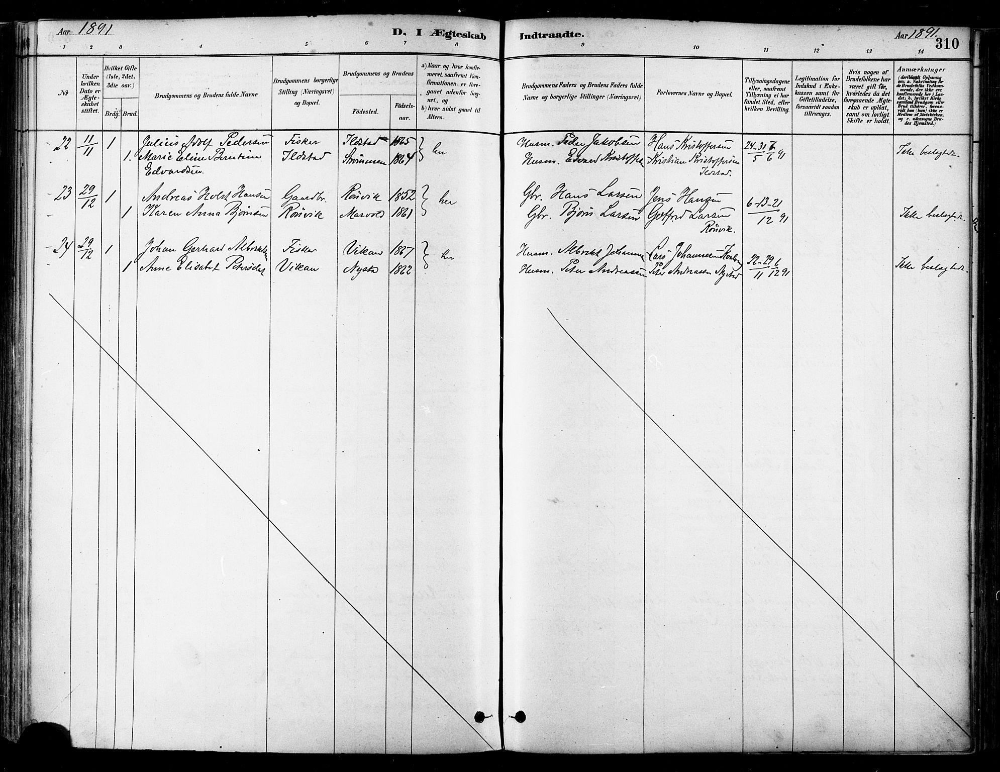 SAT, Ministerialprotokoller, klokkerbøker og fødselsregistre - Nordland, 802/L0054: Ministerialbok nr. 802A01, 1879-1893, s. 310