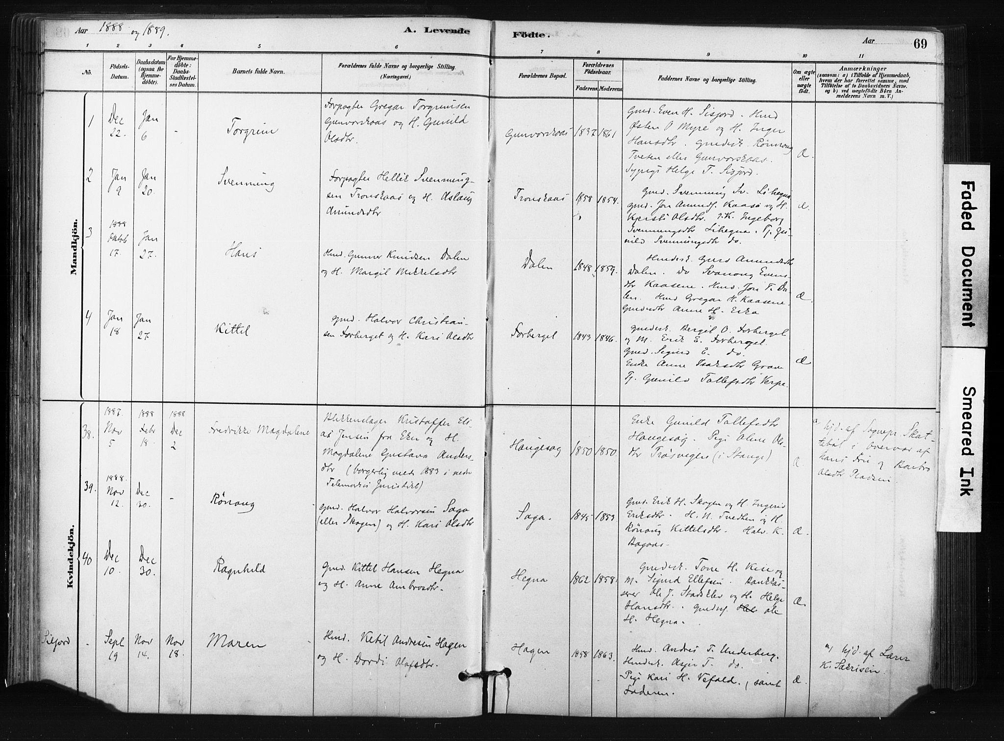 SAKO, Bø kirkebøker, F/Fa/L0010: Ministerialbok nr. 10, 1880-1892, s. 69