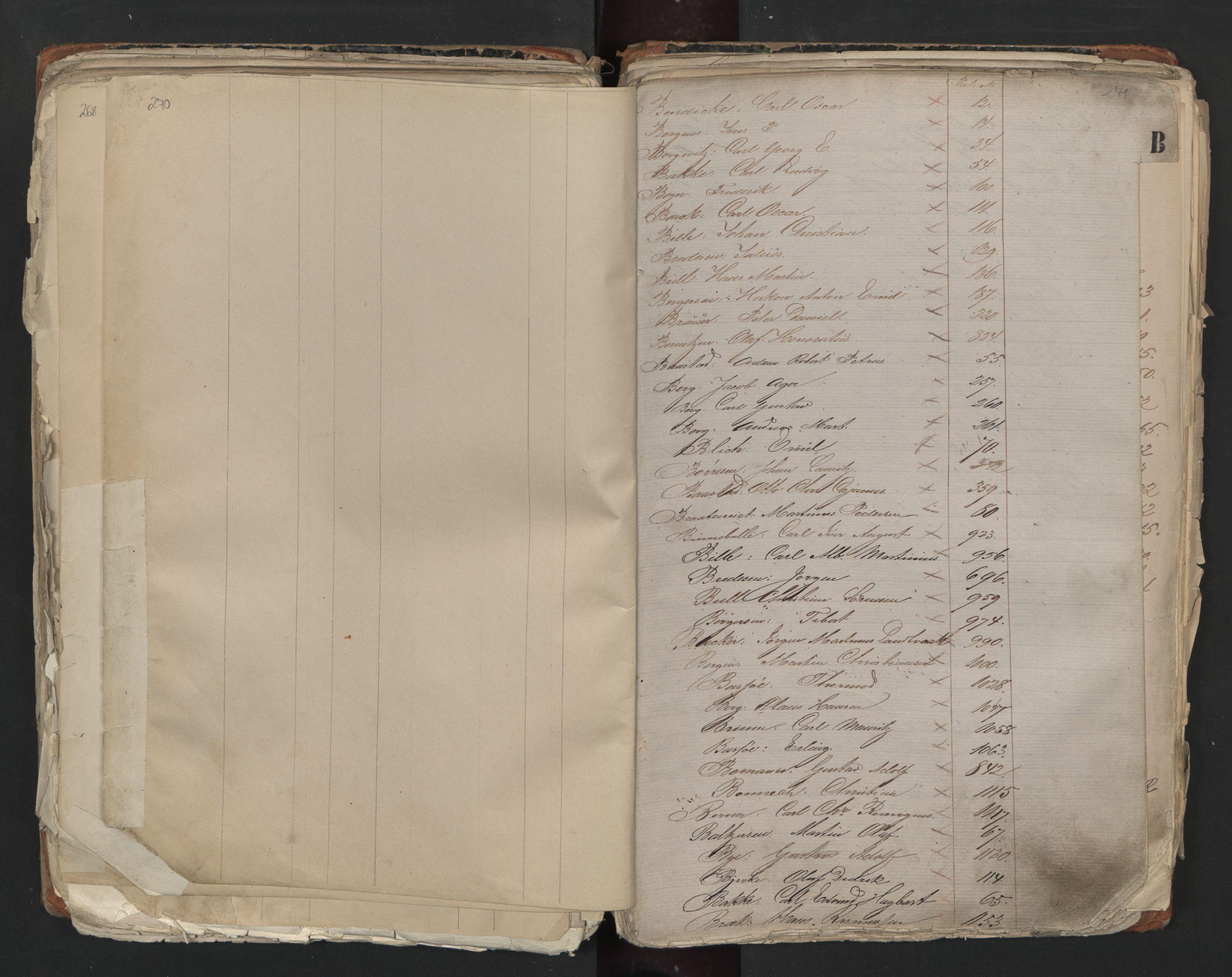 SAO, Oslo sjømannskontor, F/Fa/L0001: Register for Kristiania krets, 1866-1891, s. 270-271