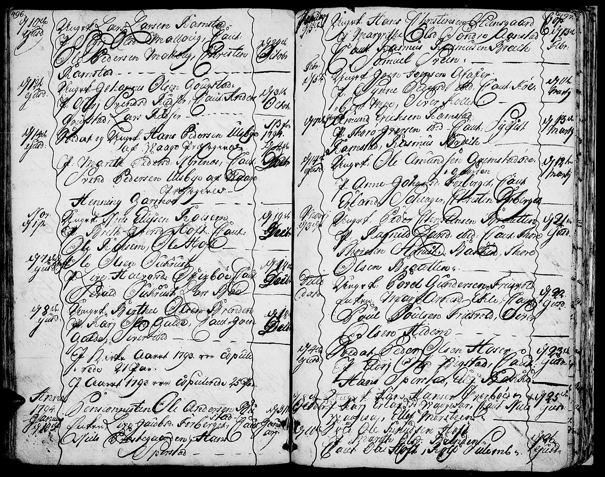 SAH, Lom prestekontor, K/L0002: Ministerialbok nr. 2, 1749-1801, s. 496-497