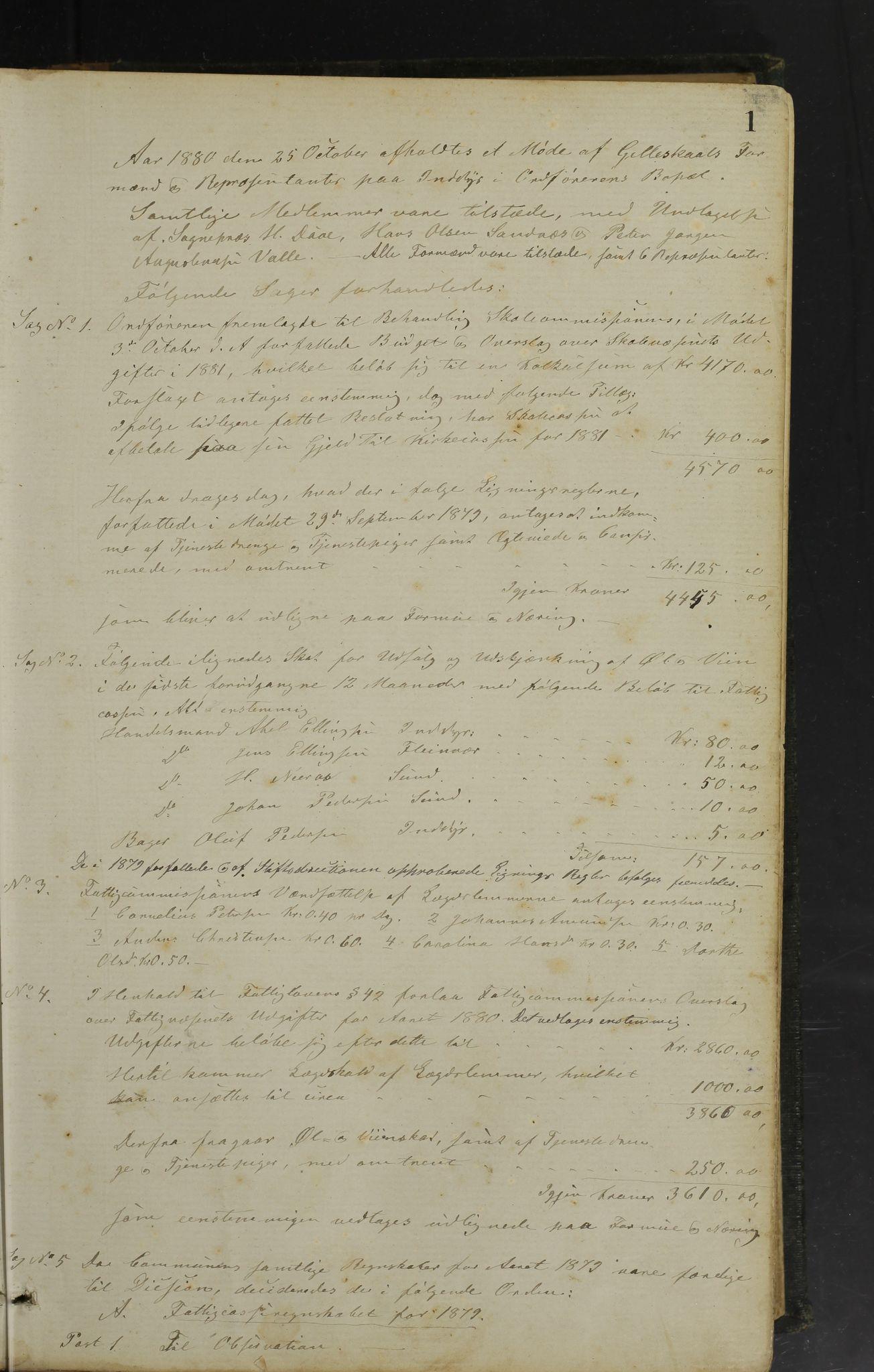 AIN, Gildeskål kommune. Formannskapet, 100/L0002: Møtebok formannskapet, 1880-1903, s. 1