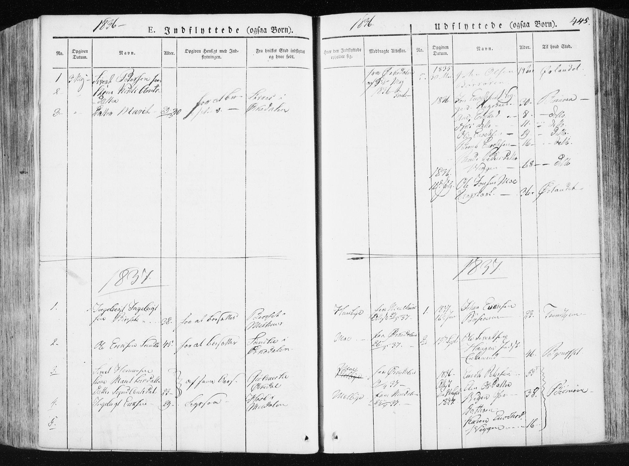 SAT, Ministerialprotokoller, klokkerbøker og fødselsregistre - Sør-Trøndelag, 665/L0771: Ministerialbok nr. 665A06, 1830-1856, s. 445
