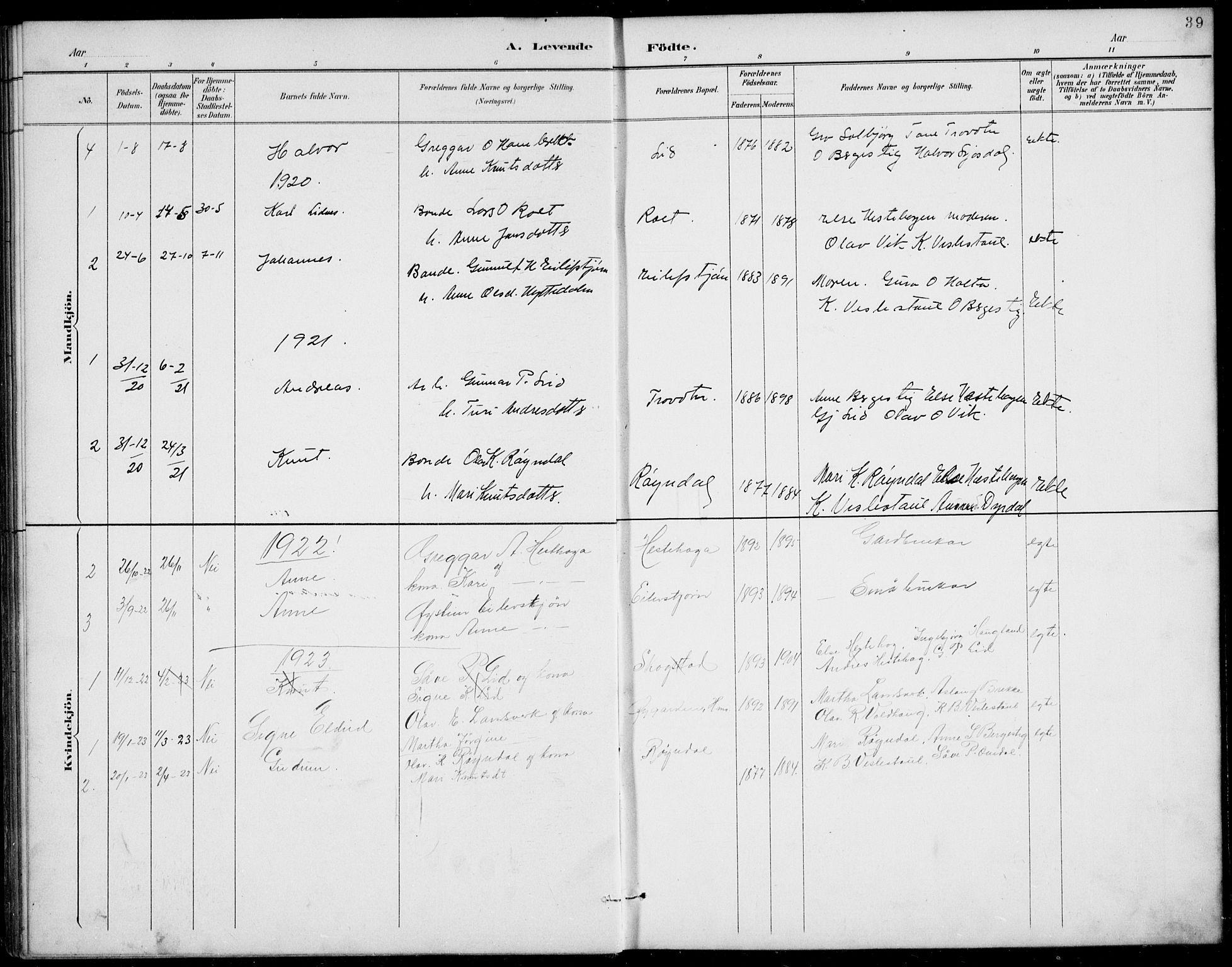 SAKO, Rauland kirkebøker, G/Gb/L0002: Klokkerbok nr. II 2, 1887-1937, s. 39