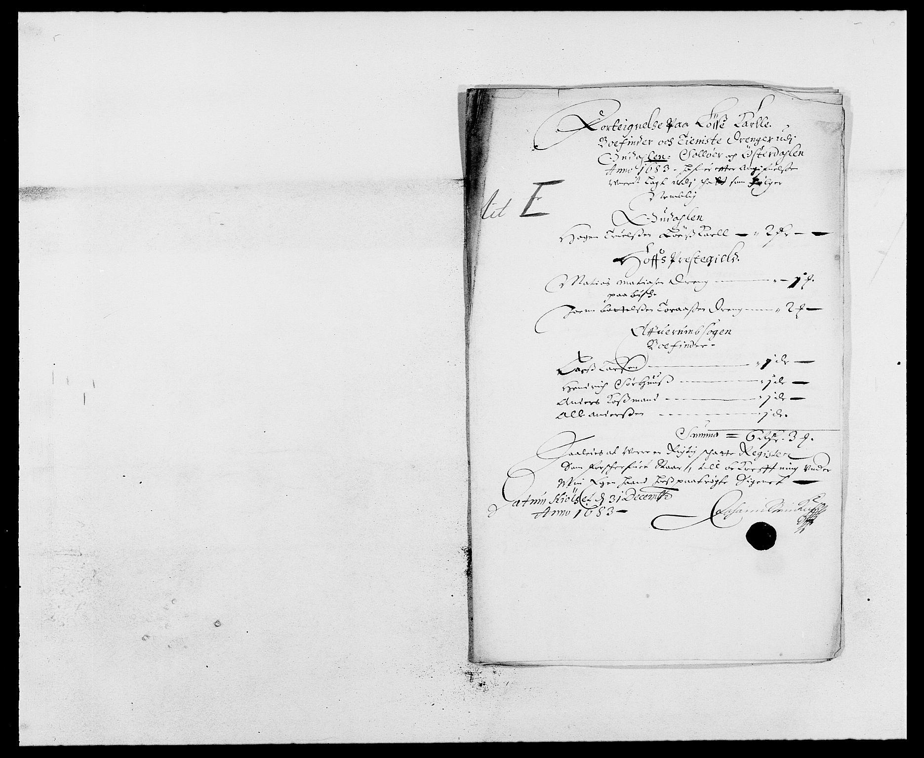 RA, Rentekammeret inntil 1814, Reviderte regnskaper, Fogderegnskap, R13/L0820: Fogderegnskap Solør, Odal og Østerdal, 1683, s. 203