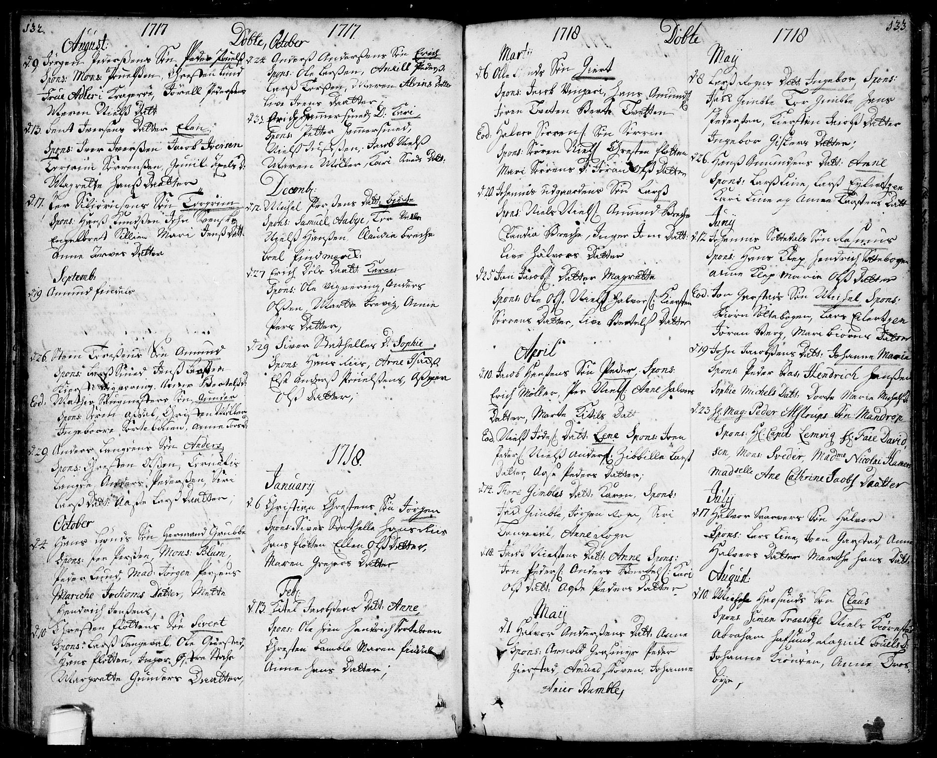 SAKO, Bamble kirkebøker, F/Fa/L0001: Ministerialbok nr. I 1, 1702-1774, s. 132-133
