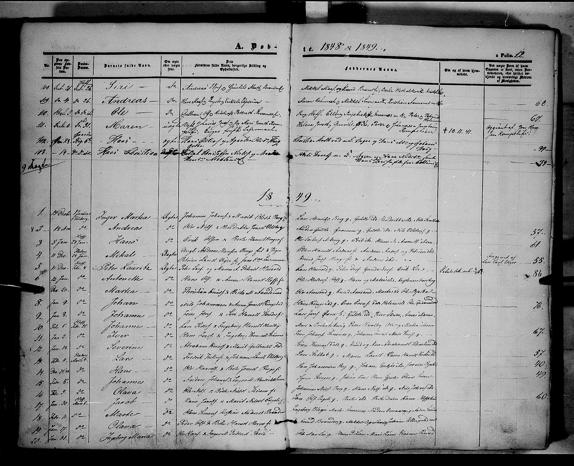 SAH, Land prestekontor, Ministerialbok nr. 9, 1847-1859, s. 12