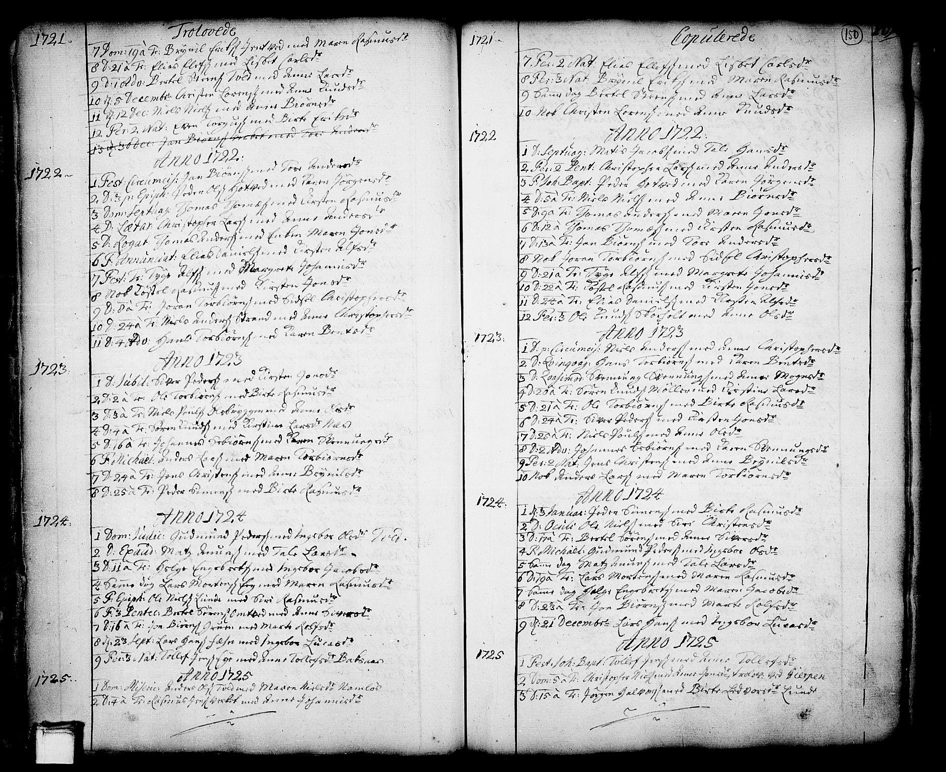 SAKO, Holla kirkebøker, F/Fa/L0001: Ministerialbok nr. 1, 1717-1779, s. 150